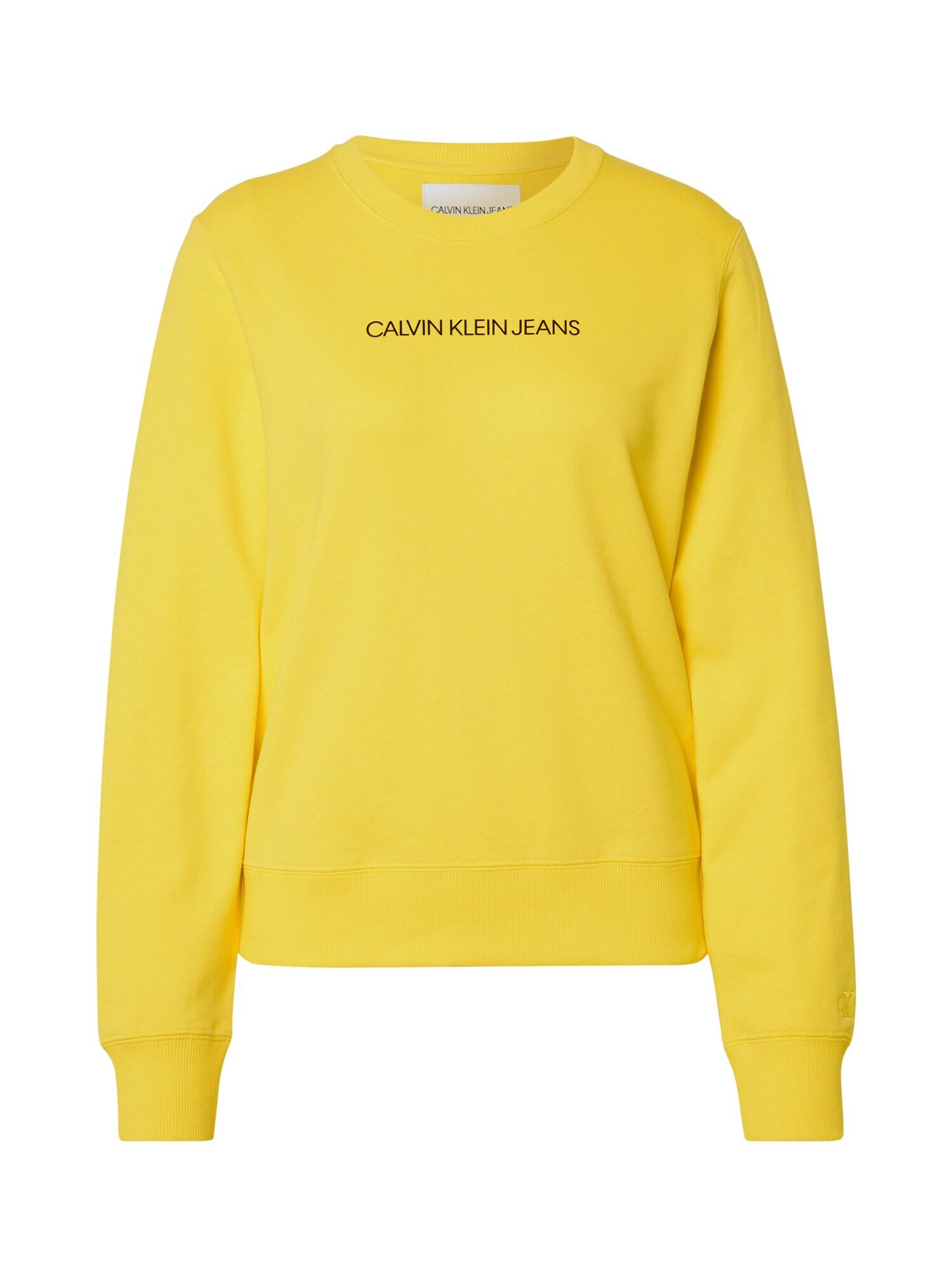 Calvin Klein Jeans Mikina 'INSTITUTIONAL'  žlutá