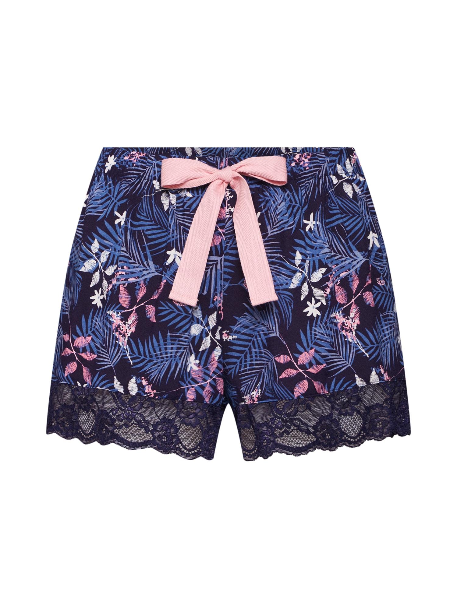 Pyžamové kalhoty Short Woven Tropical L modrá Hunkemöller