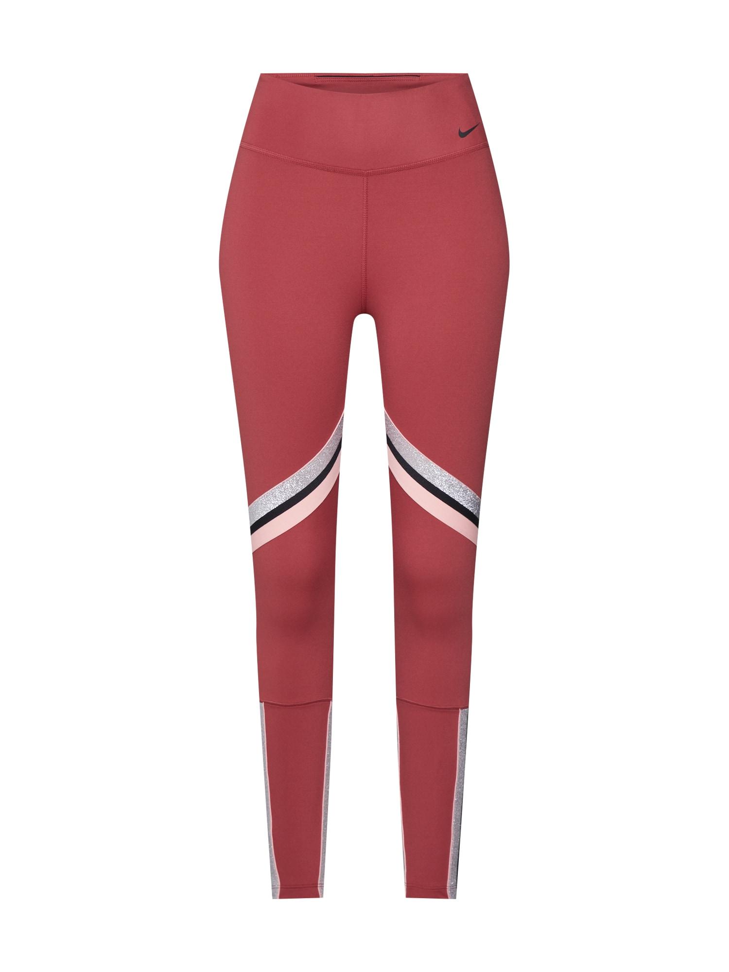 NIKE Športové nohavice 'ONE'  ružová / červené / čierna / strieborná