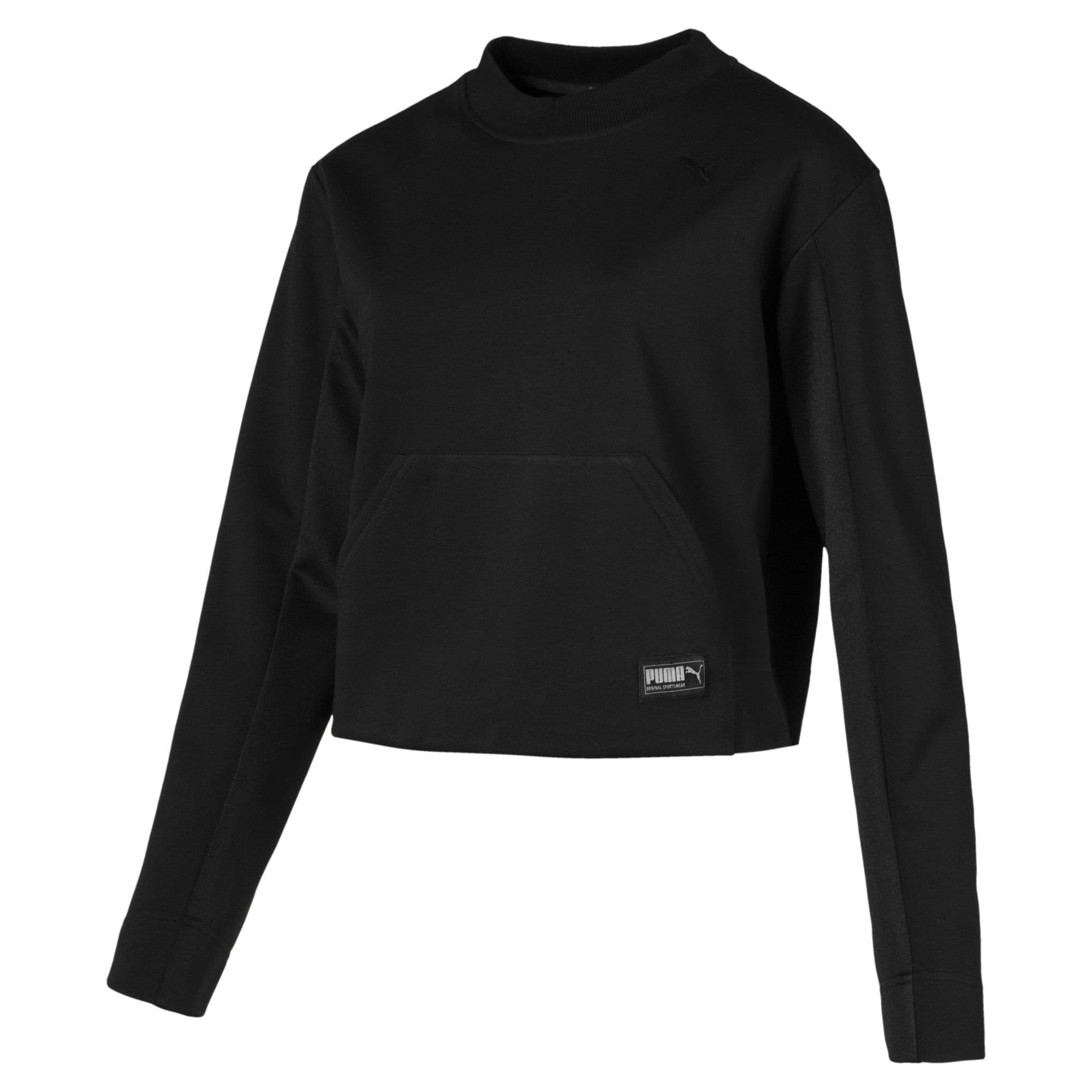 PUMA, Dames Sweatshirt 'Fusion', grijs / zwart