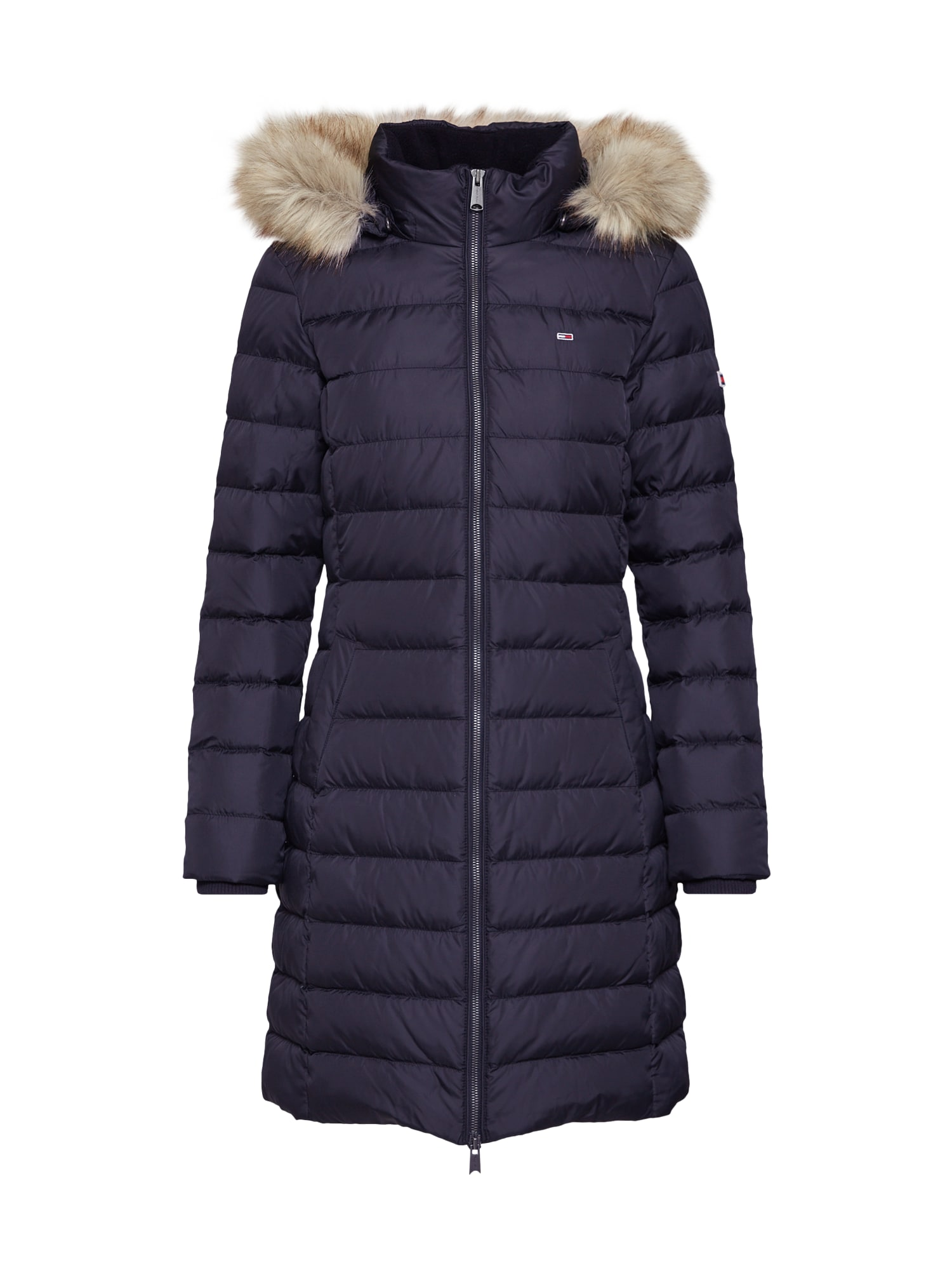 Zimní kabát TJW ESSENTIAL HOODED DOWN COAT černá Tommy Jeans