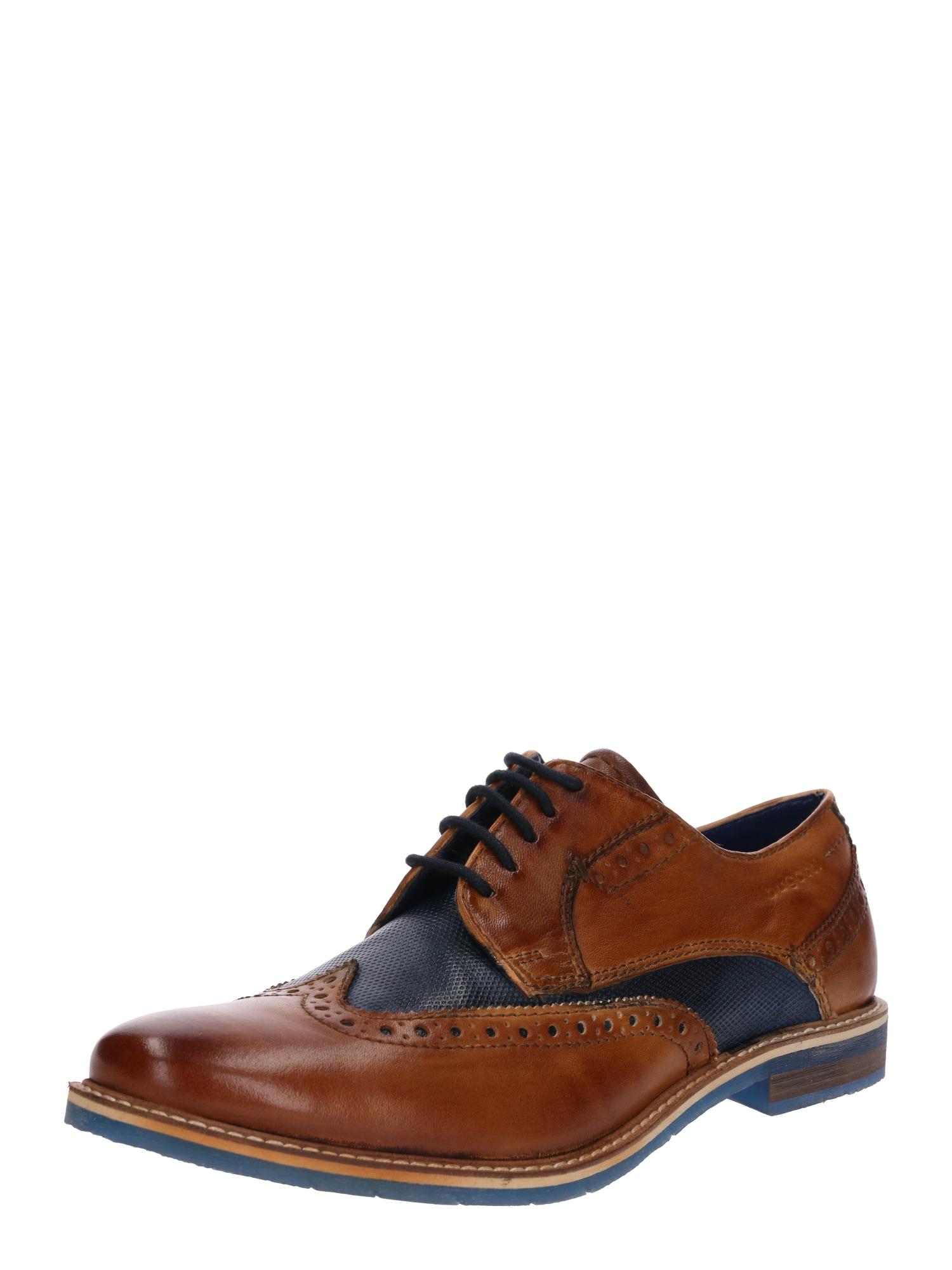 Šněrovací boty noční modrá koňaková Bugatti