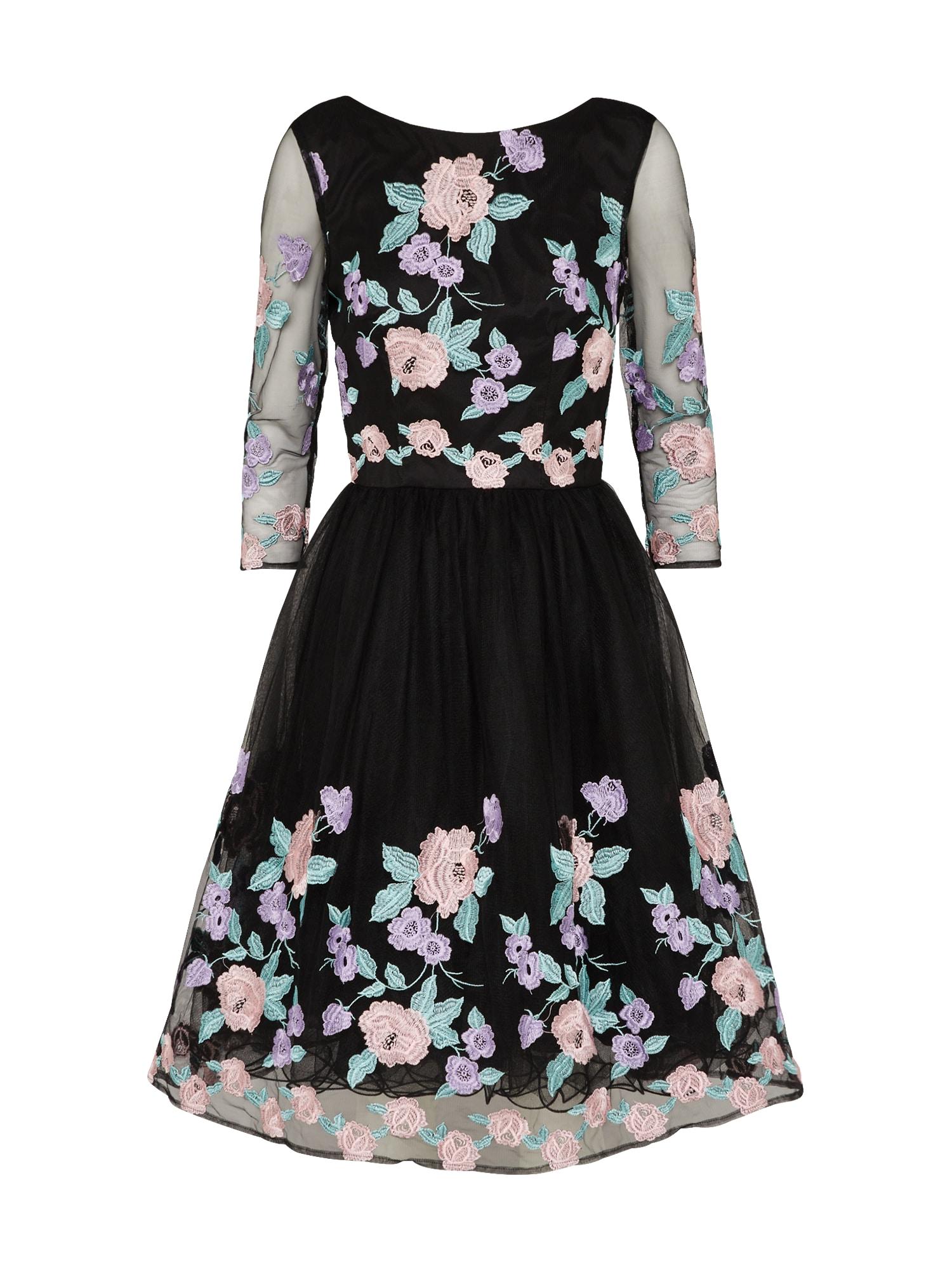 Chi Chi London Koktejlové šaty 'CAITLYN'  zelená / fialová / černá
