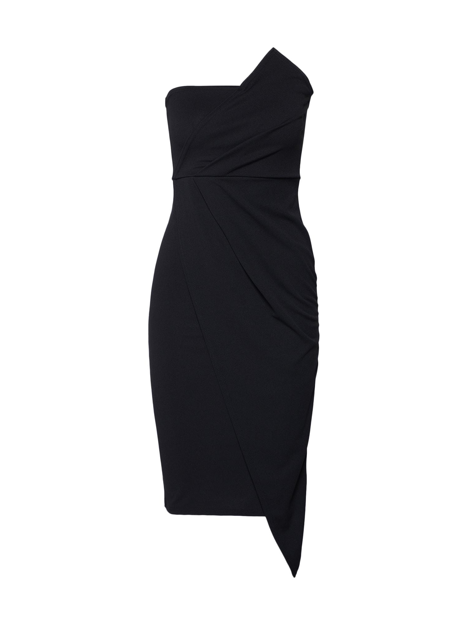 Koktejlové šaty BANDEAU ORIGAMI MIDI DRESS černá Missguided