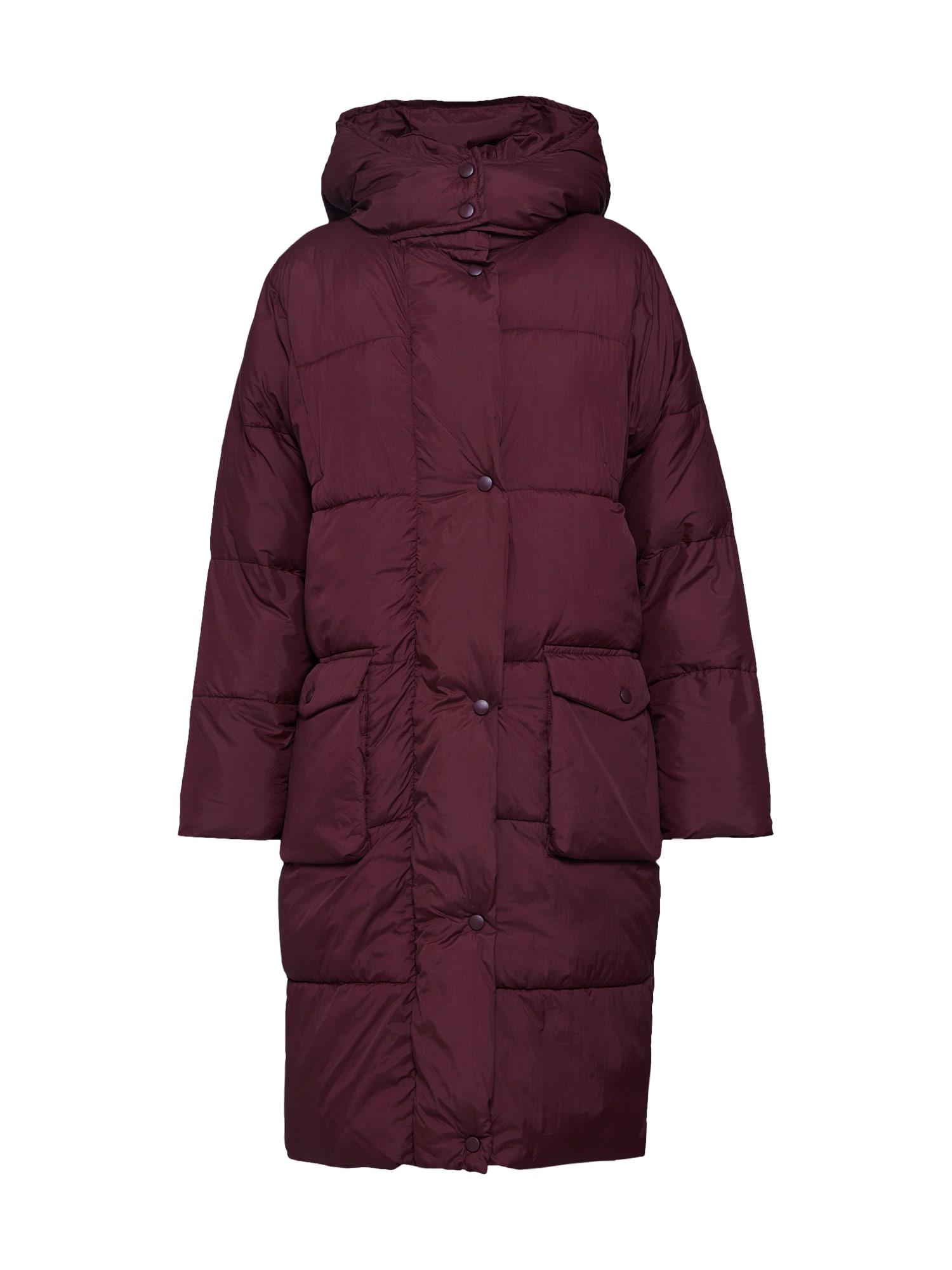 Zimní kabát LONGLINE PUFFER JACKET burgundská červeň Missguided