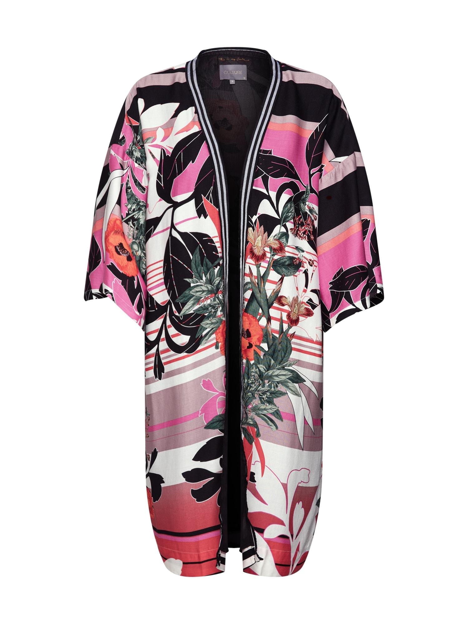 Kimono Nawal korálová černá bílá CULTURE