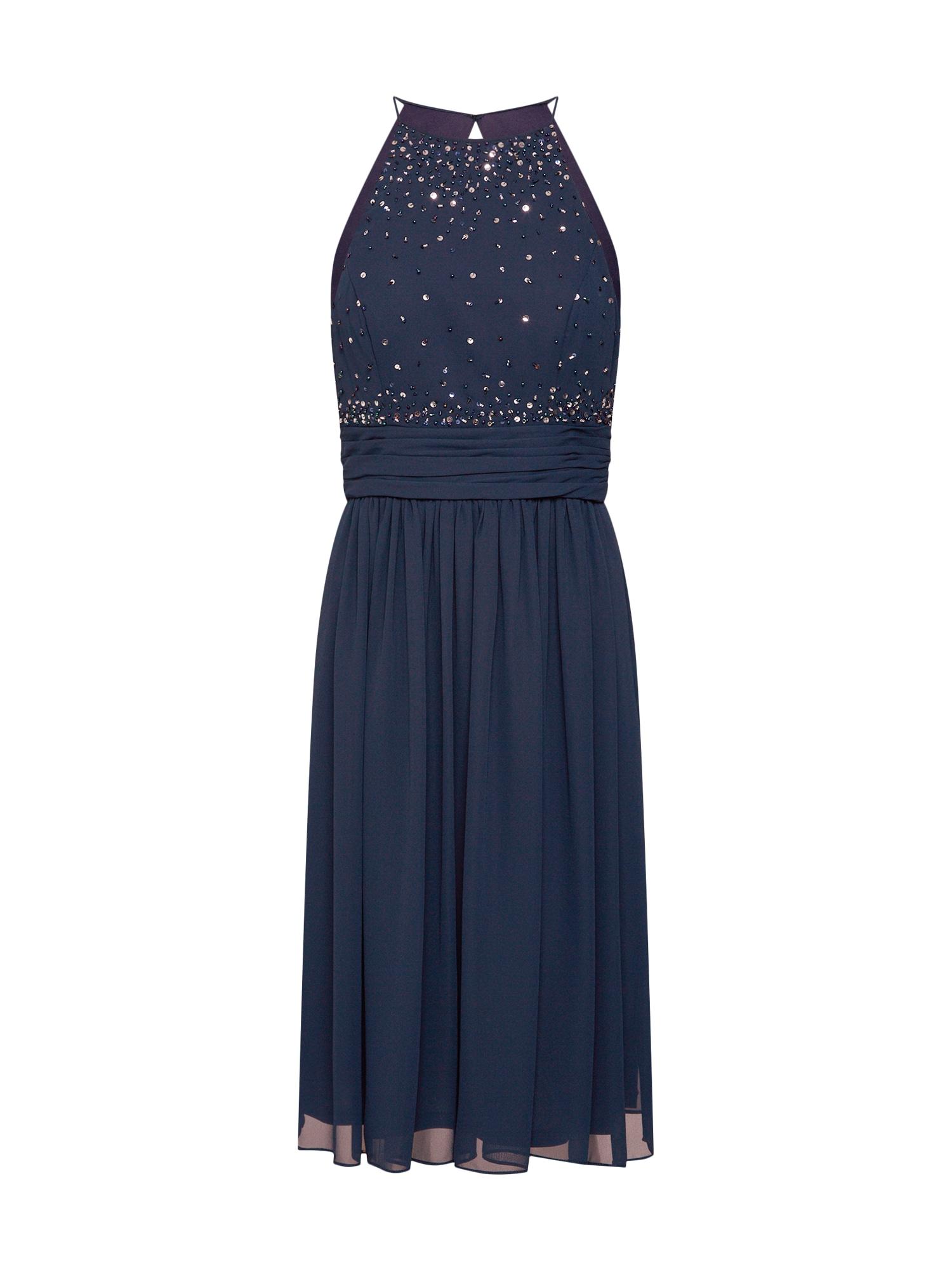 Koktejlové šaty short dress (005 long version) chiffon & rhinestones námořnická modř STAR NIGHT