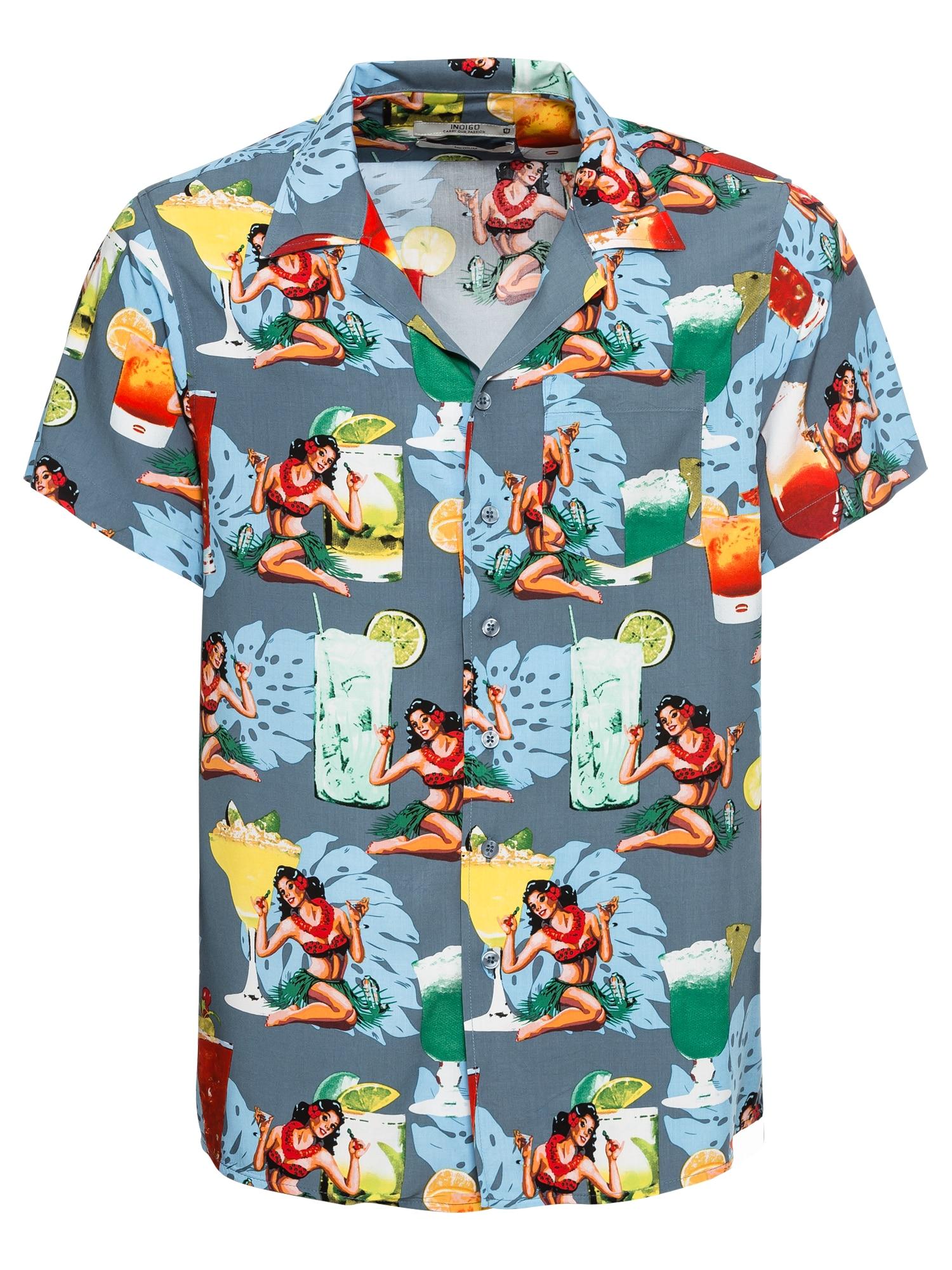 Košile Gathorne světlemodrá mix barev INDICODE JEANS