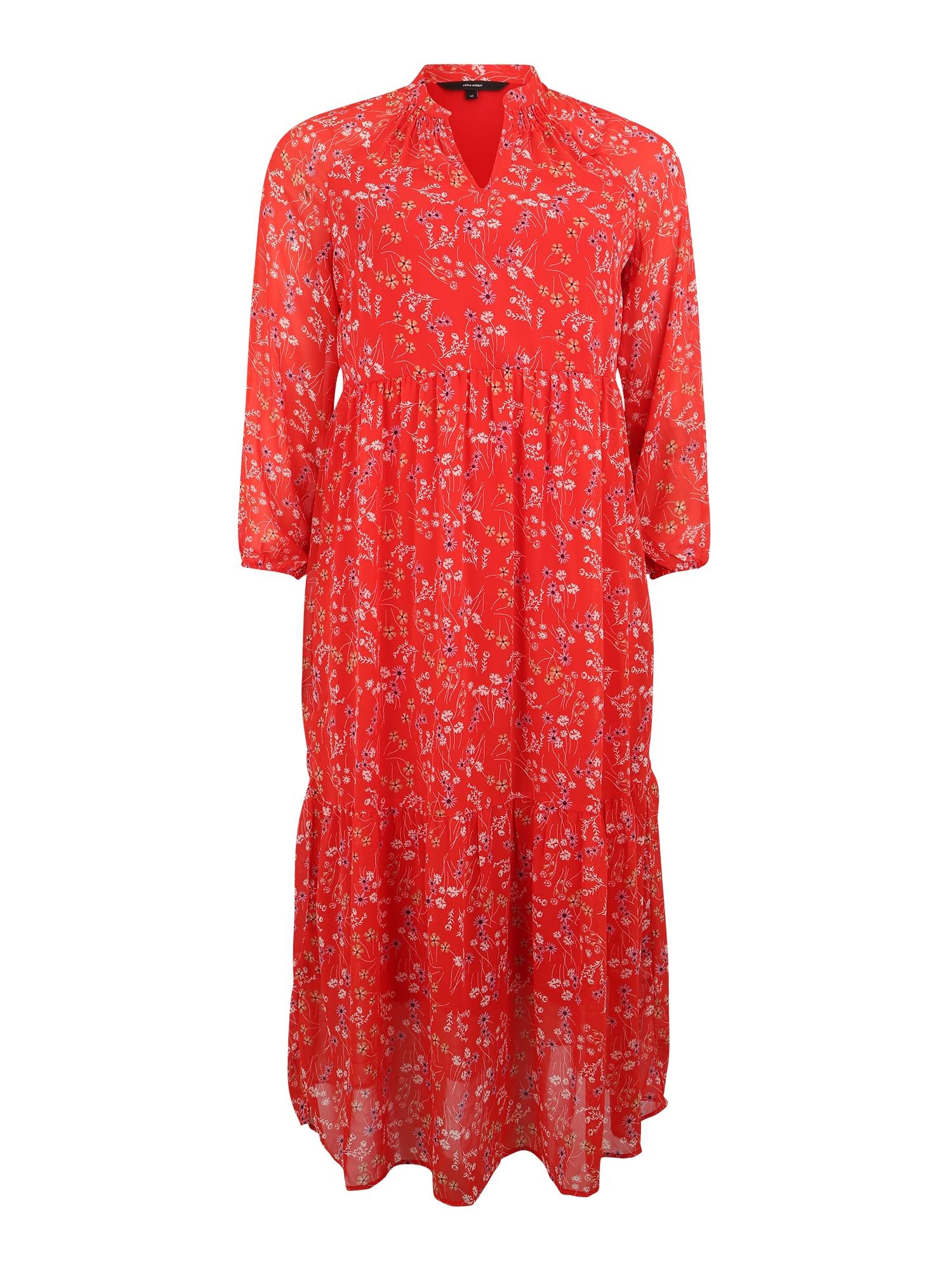 Letní šaty LOTUS ohnivá červená Vero Moda Curve