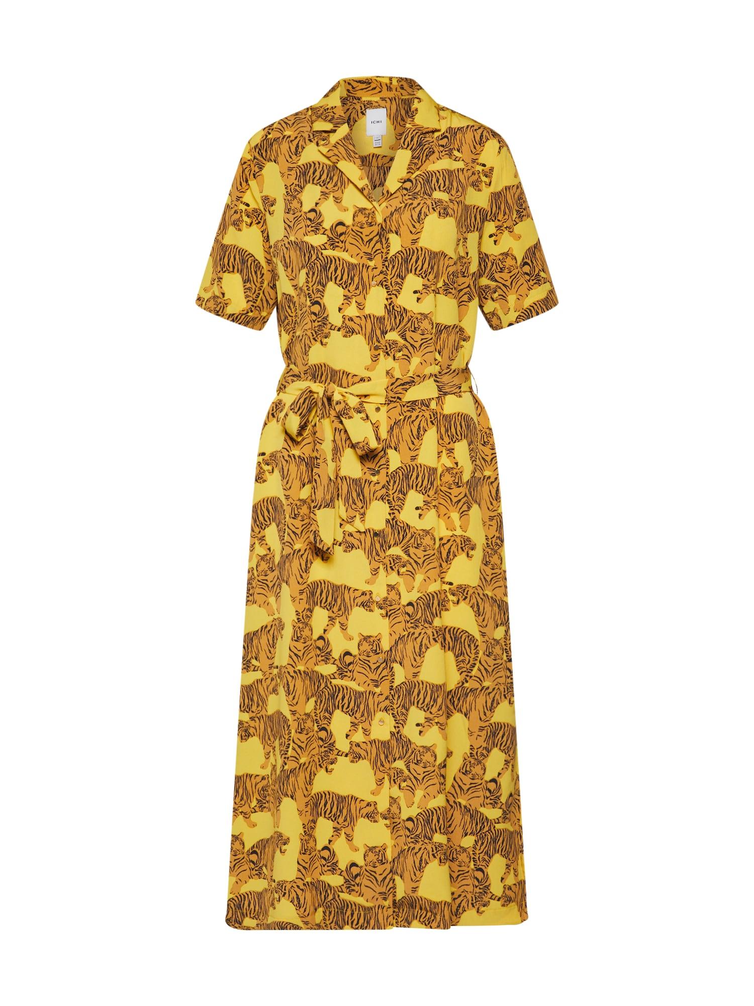 Košilové šaty IXTIGER DR hnědá tmavě žlutá ICHI