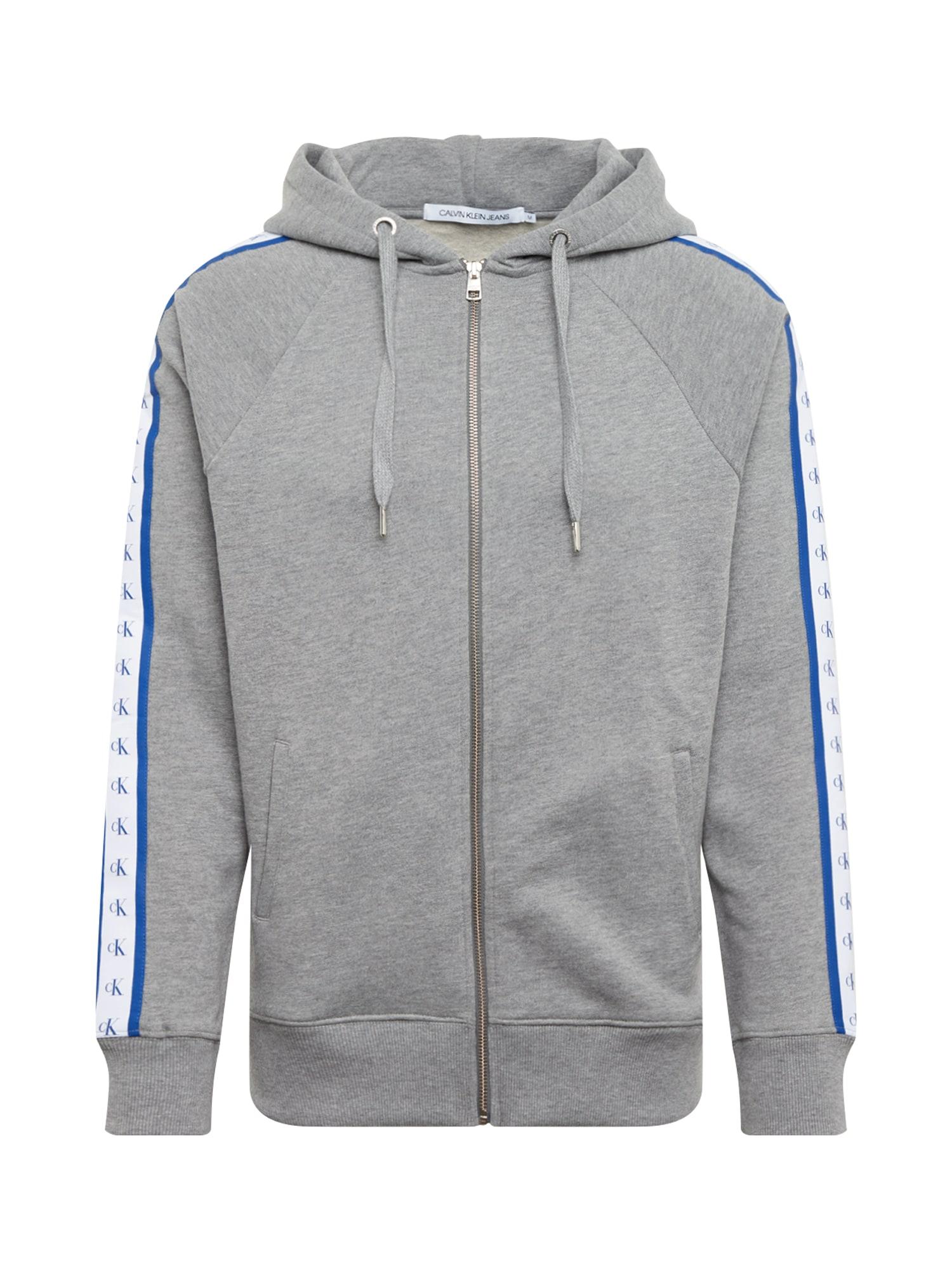 Calvin Klein Jeans Mikina s kapucí  světle šedá