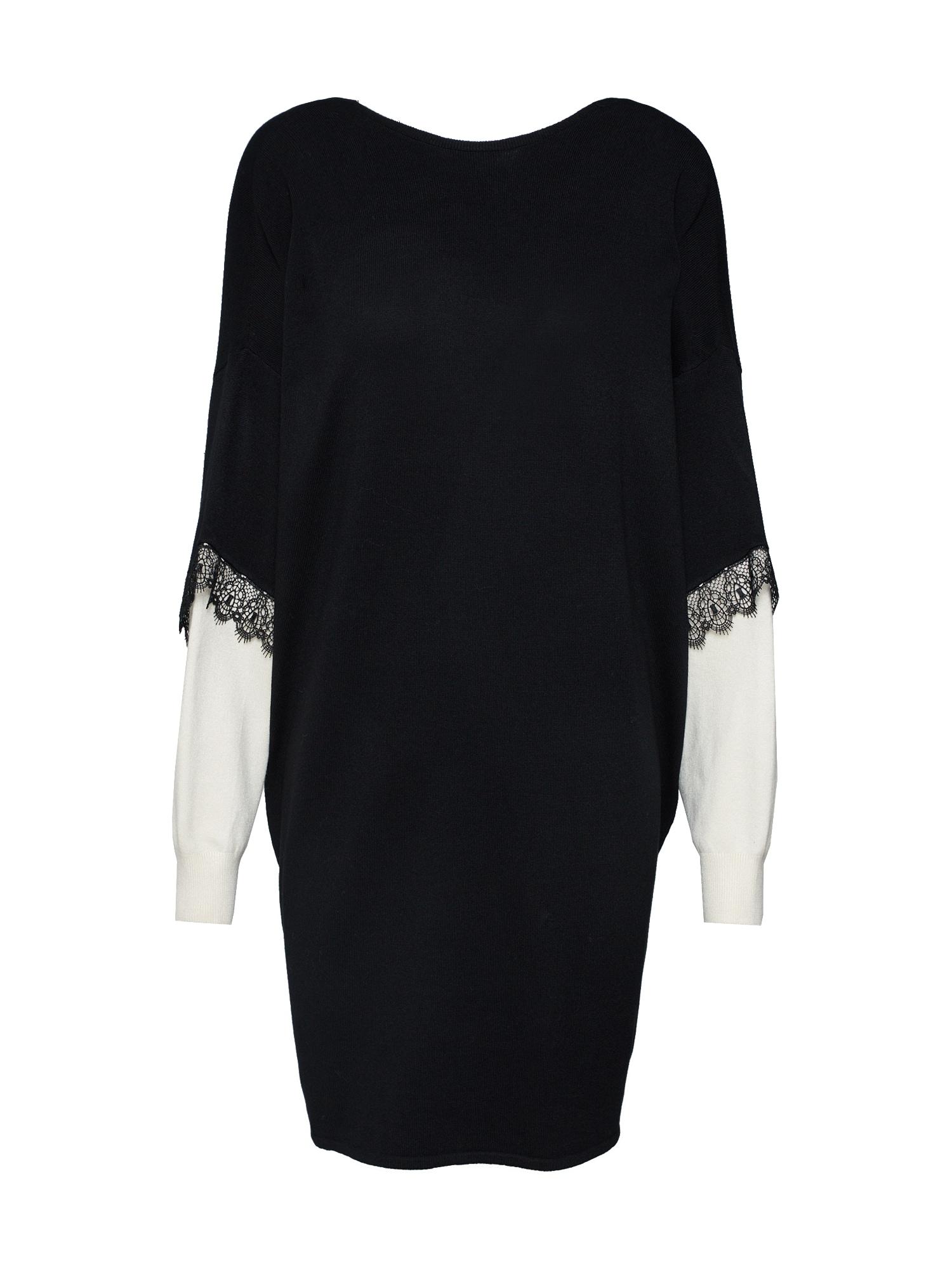 Úpletové šaty JDYKIMORA LS V-NECK DRESS KNT černá bílá JACQUELINE De YONG