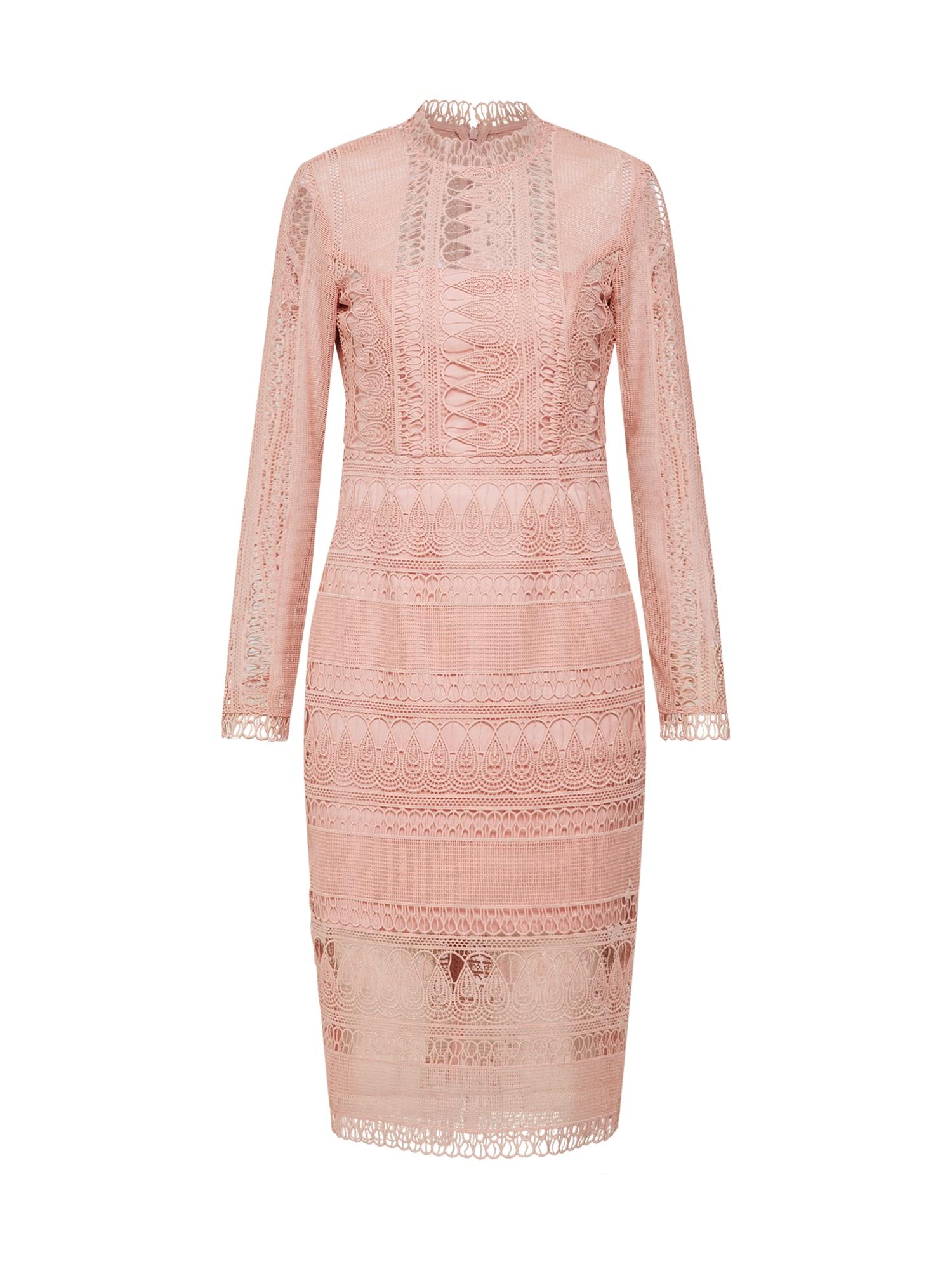 Koktejlové šaty MARIANA LACE DRESS růžová Bardot