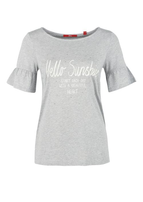 Printshirt mit Volant-Ärmeln