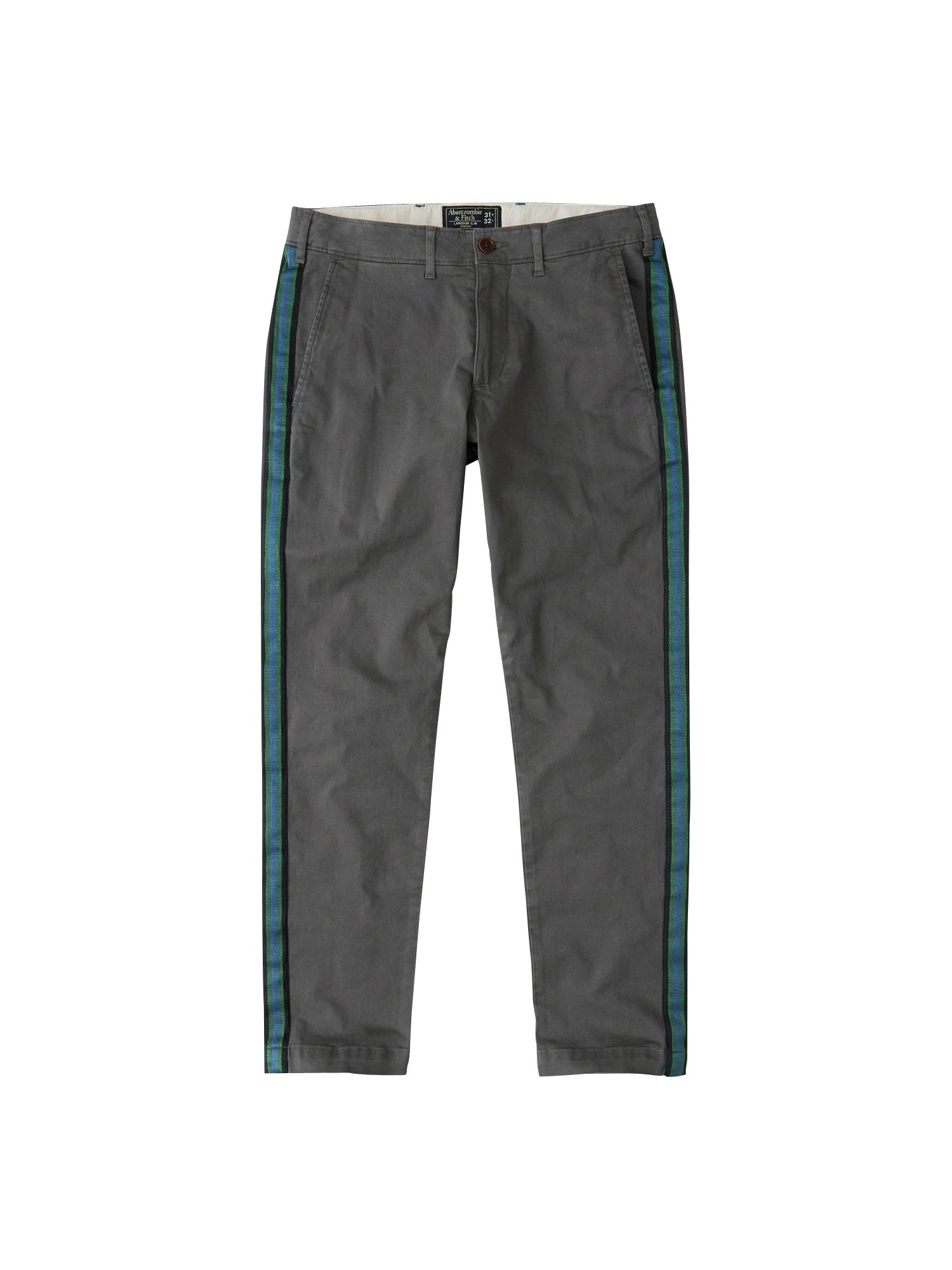 Chino kalhoty SIDE TAPE CHINO 2CC pastelová modrá šedá Abercrombie & Fitch