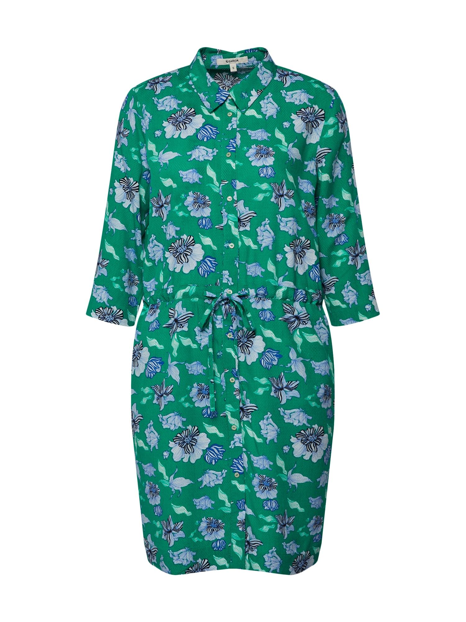 Košilové šaty modrá tyrkysová zelená GARCIA