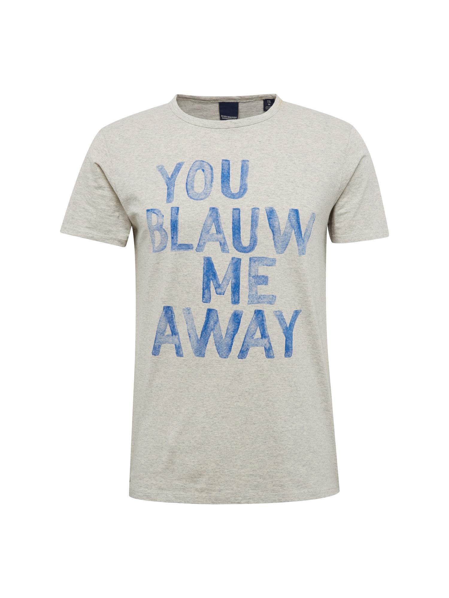 SCOTCH  and  SODA Heren Shirt Ams Blauw tee with artwork ecru blauw