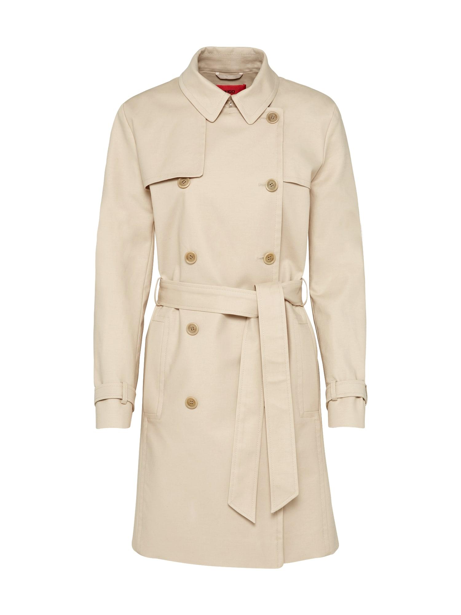 Přechodný kabát Makaras světle béžová HUGO