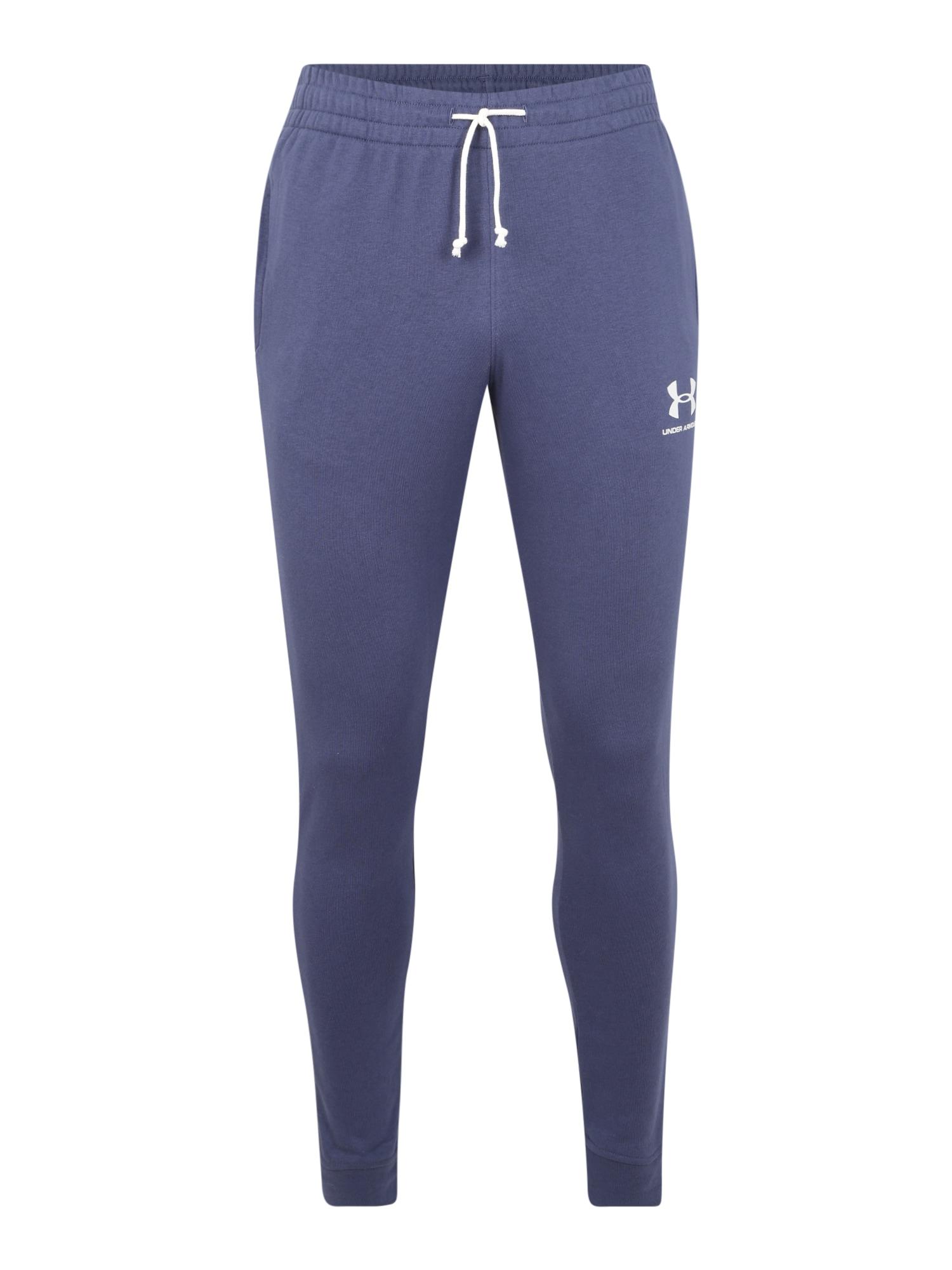 UNDER ARMOUR Sportovní kalhoty 'SPORTSTYLE TERRY JOGGER'  bílá / modrá