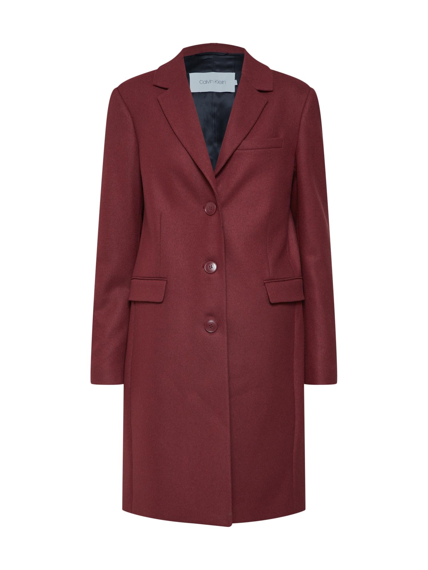 Přechodný kabát burgundská červeň Calvin Klein