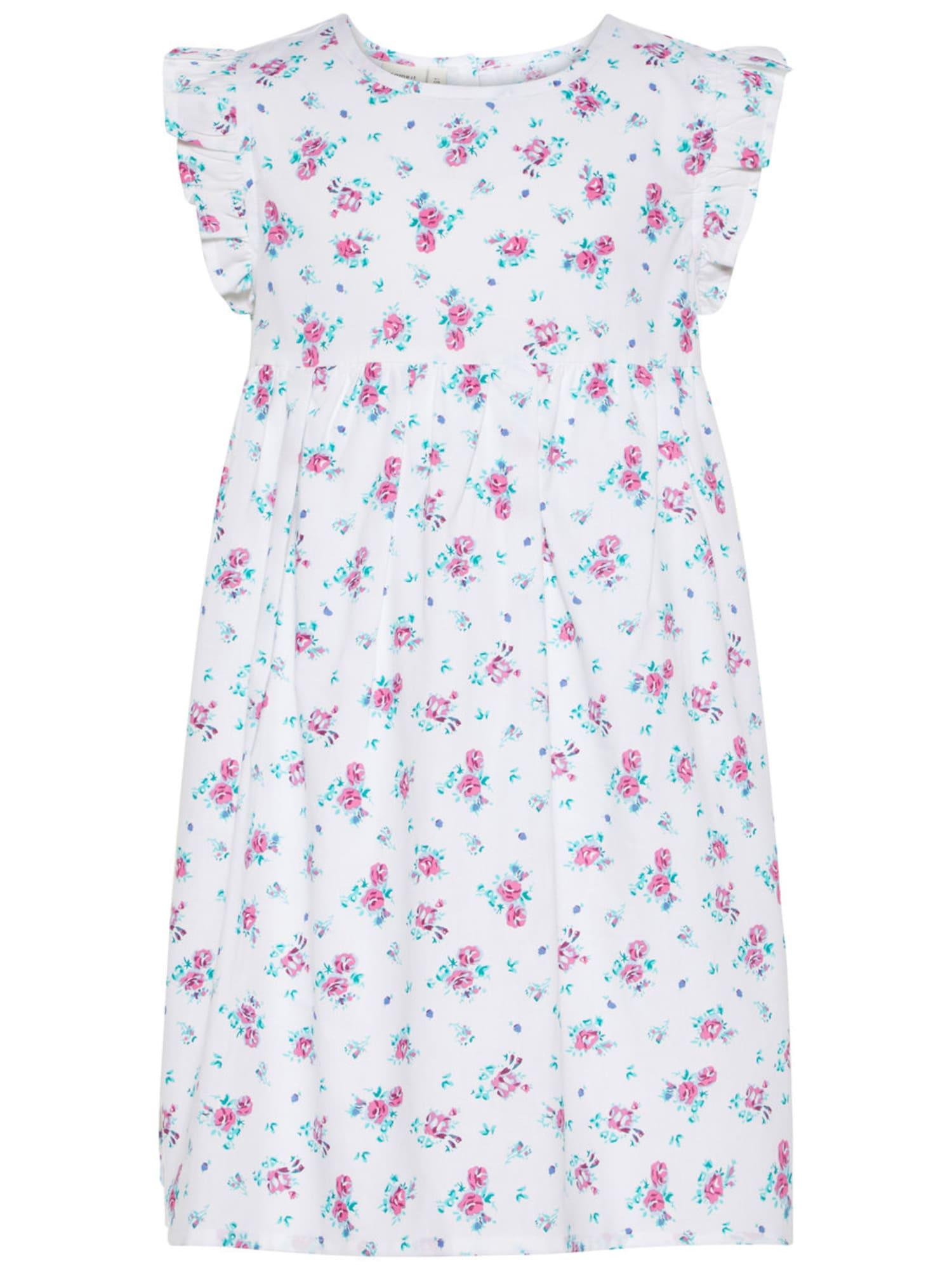 Name it Meisjes Jurk turquoise / pink / wit