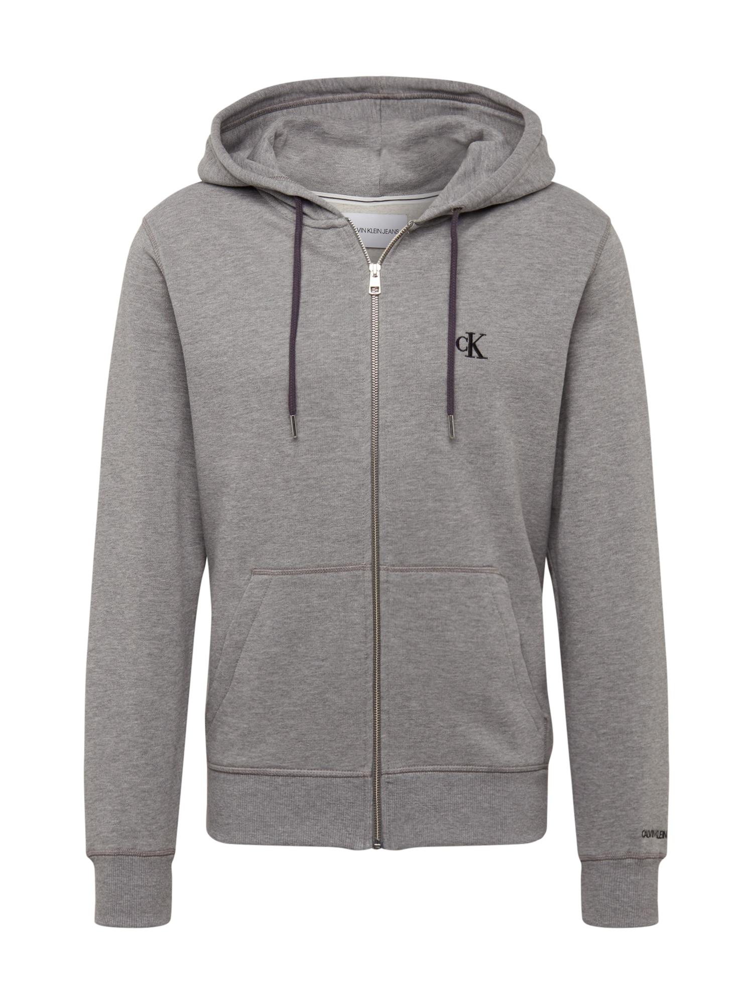 Calvin Klein Jeans Mikina s kapucí  šedá