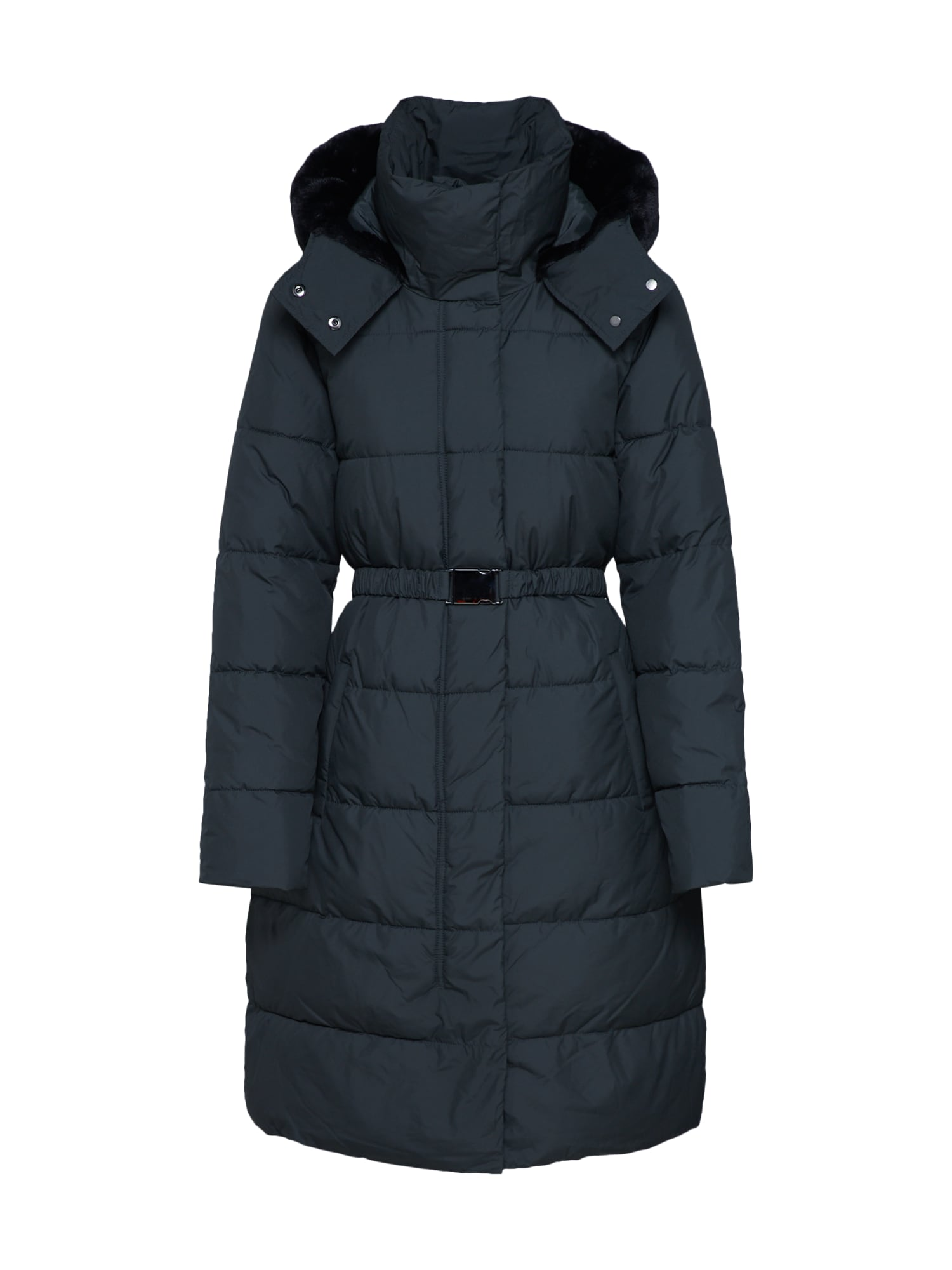 Zimní kabát I LONG PUFFER W FUR TRIM HOOD zelená Banana Republic