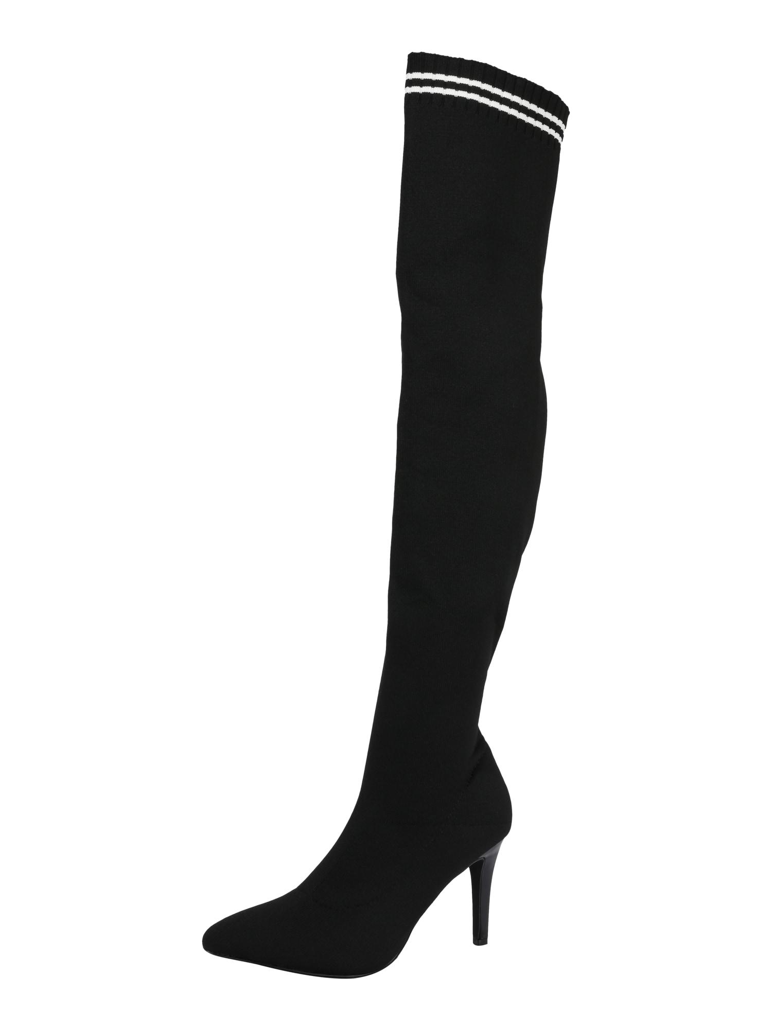 BUFFALO, Dames Overknee laarzen 'LEMON DROP', zwart / wit