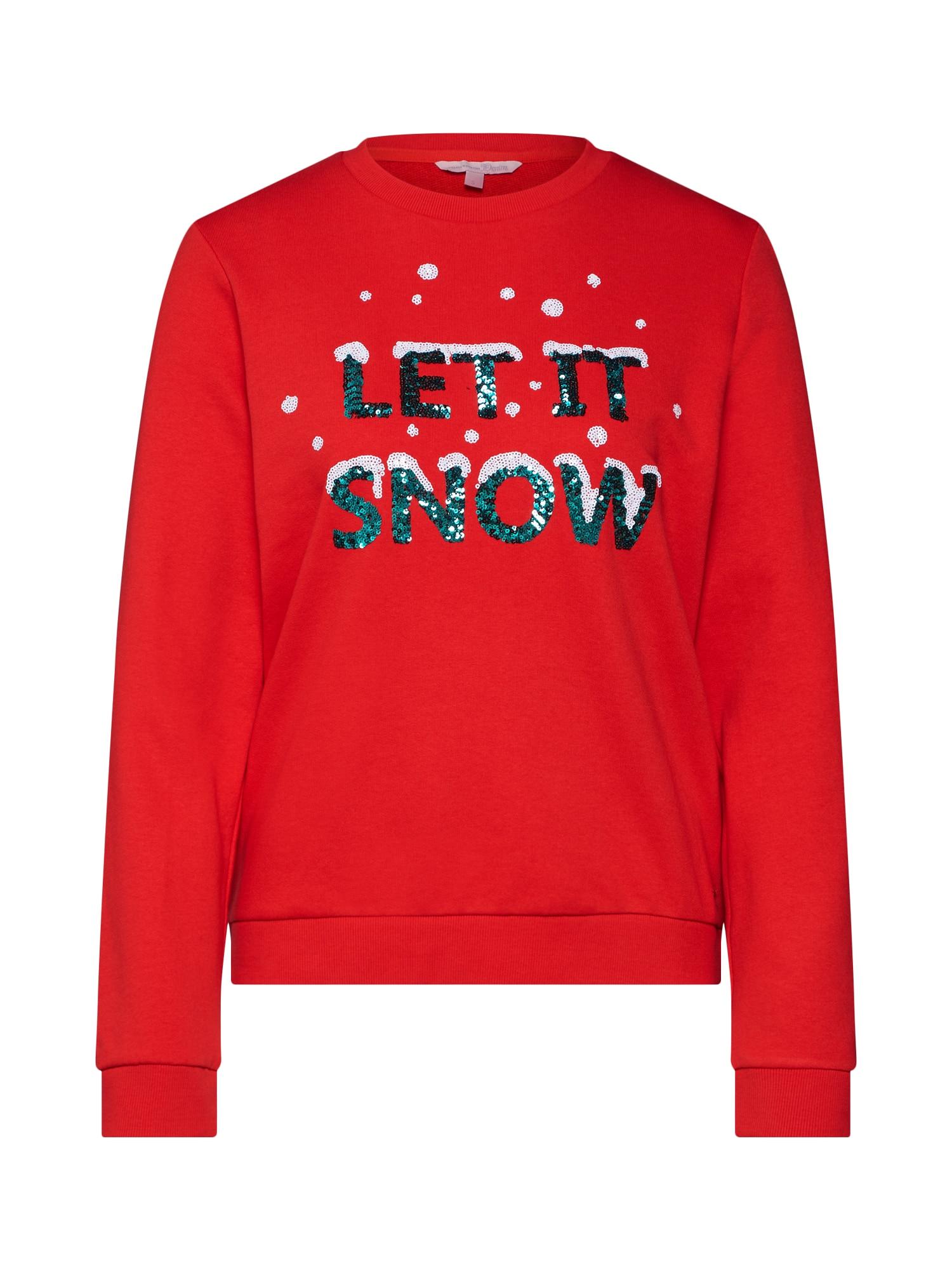 Svetr christmas sweatshirt Sweatshirt 11 oranžově červená TOM TAILOR DENIM