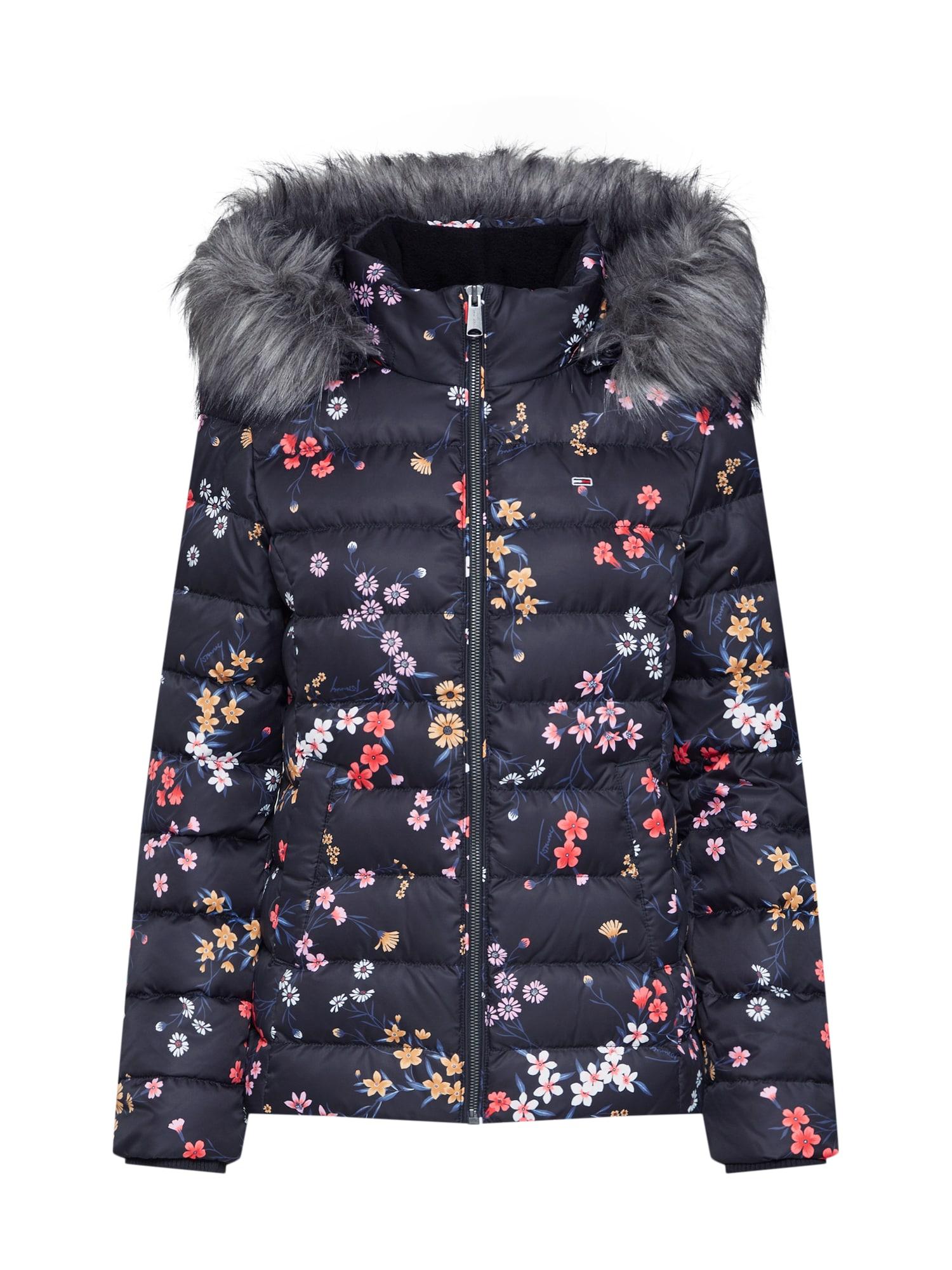 Zimní bunda TJW FLORAL HOODED DOWN JACKET mix barev černá Tommy Jeans