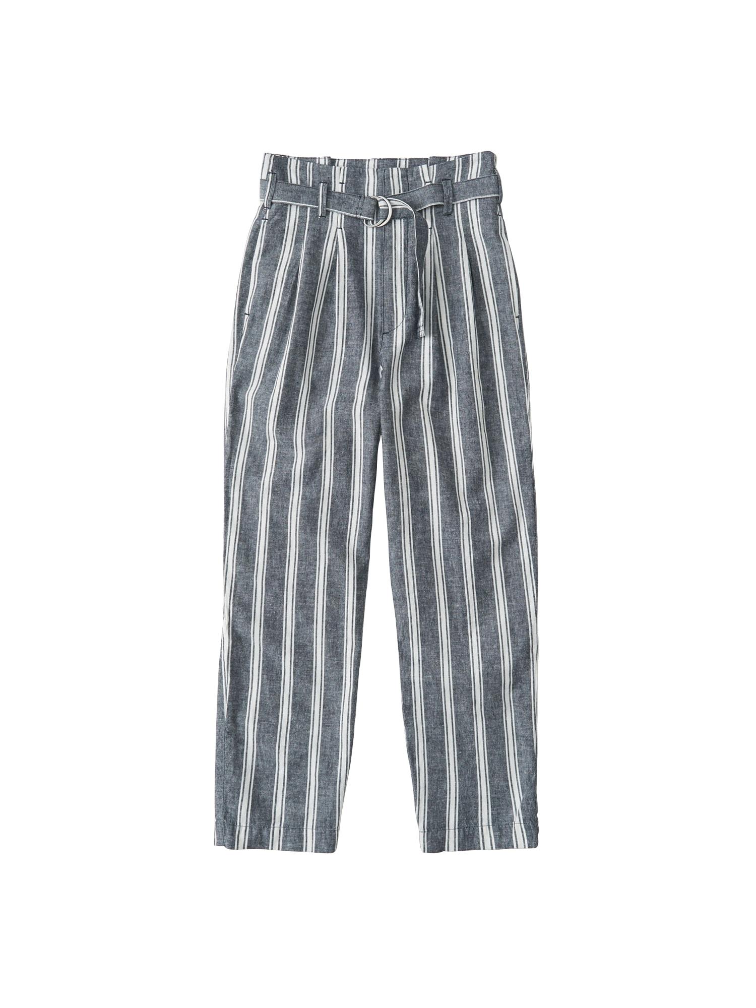 Kalhoty s puky SB19-SELF BELT TAPERED PANT modrá Abercrombie & Fitch