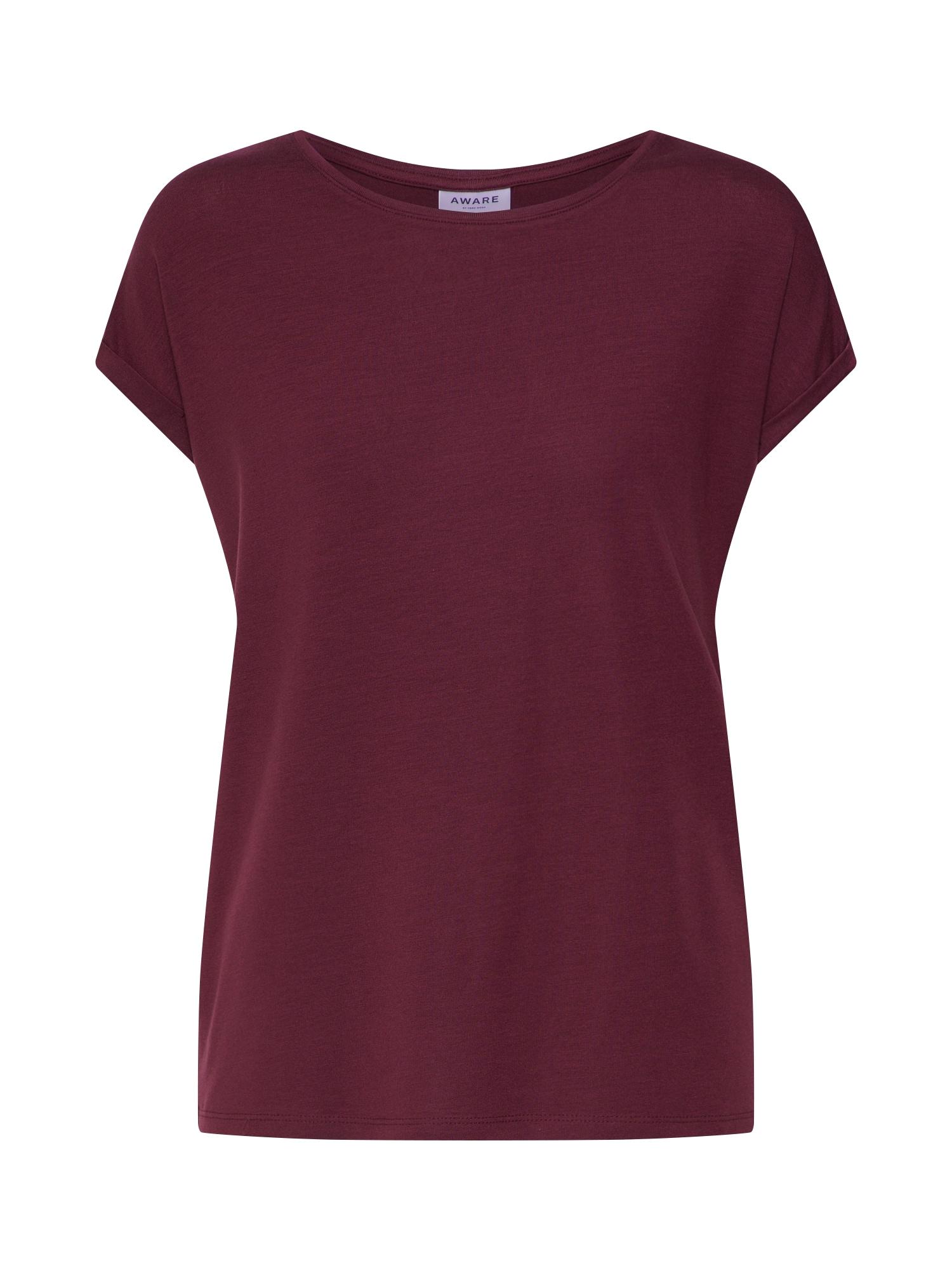 Oversized tričko AVA PLAIN vínově červená VERO MODA