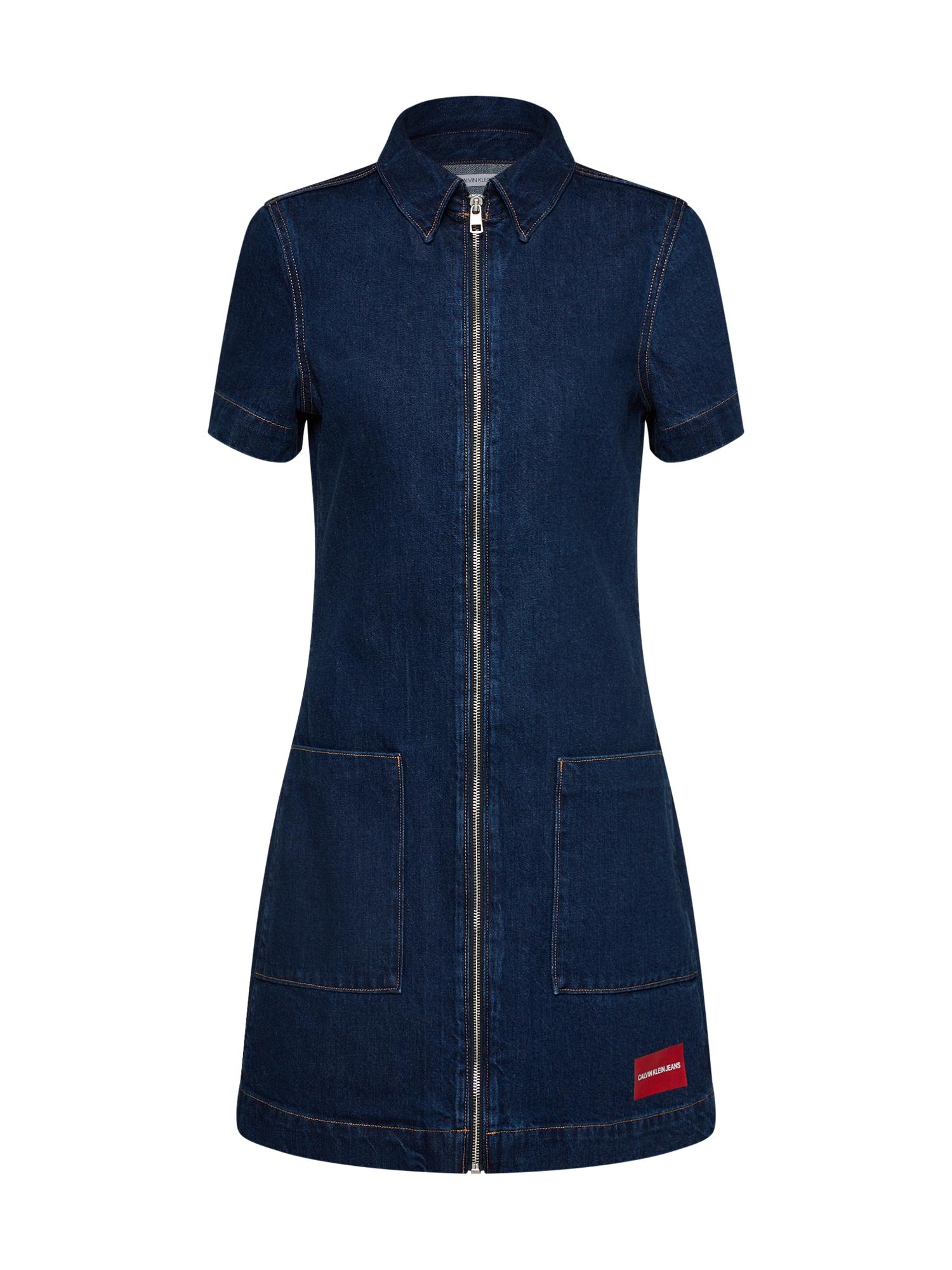 Šaty Zip Front Diner modrá džínovina Calvin Klein Jeans