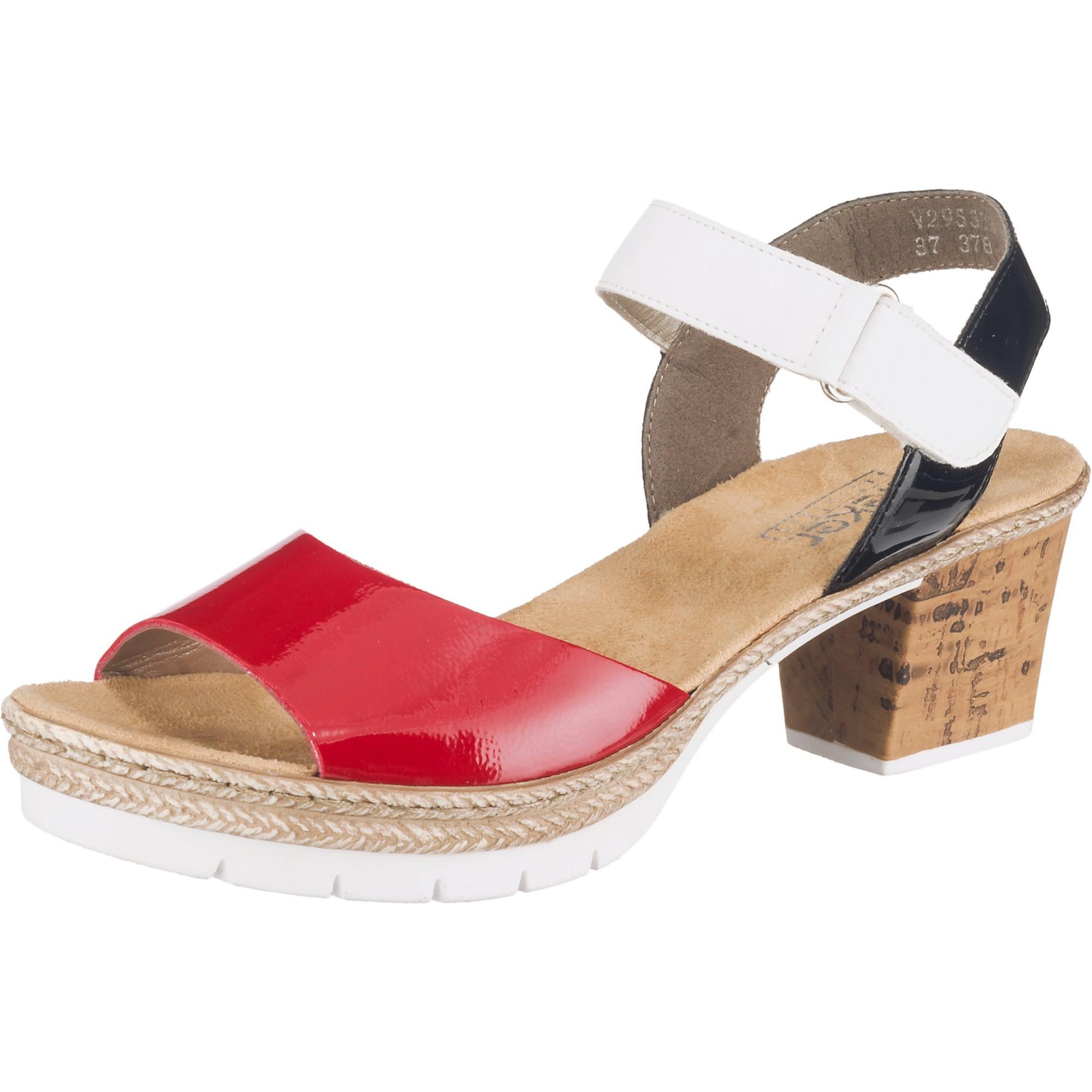 RIEKER Páskové sandály  červená / černá / bílá