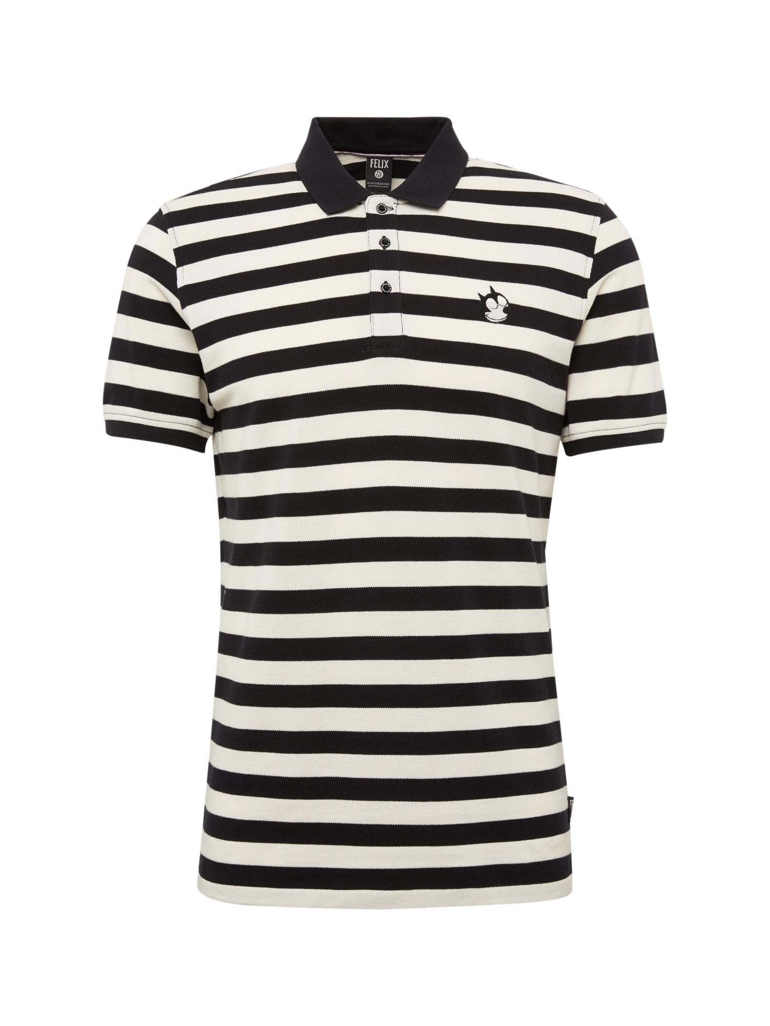 SCOTCH  and  SODA Heren Shirt Felix Ams Blauw colab polo in bold stripe zwart