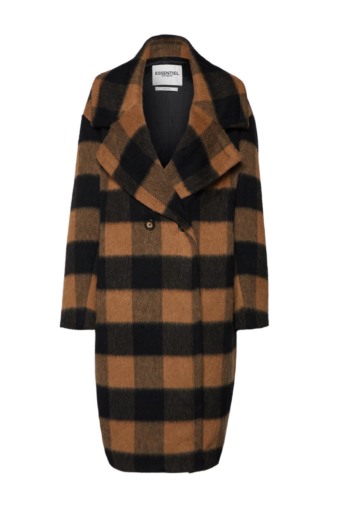Přechodný kabát Roasted double breasted hnědá černá Essentiel Antwerp