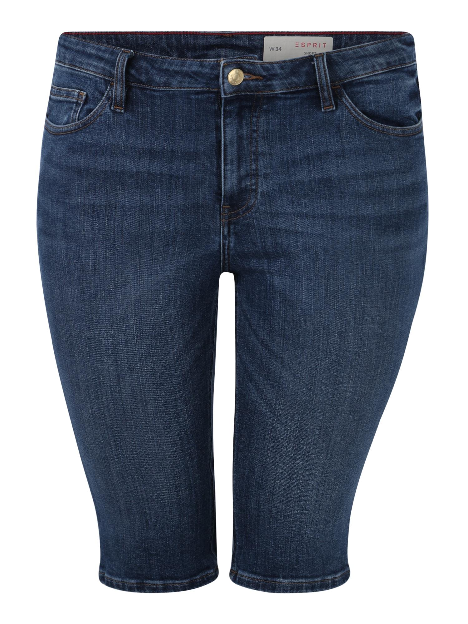 Džíny 049EE1C016 SHORTS modrá džínovina Esprit Curves