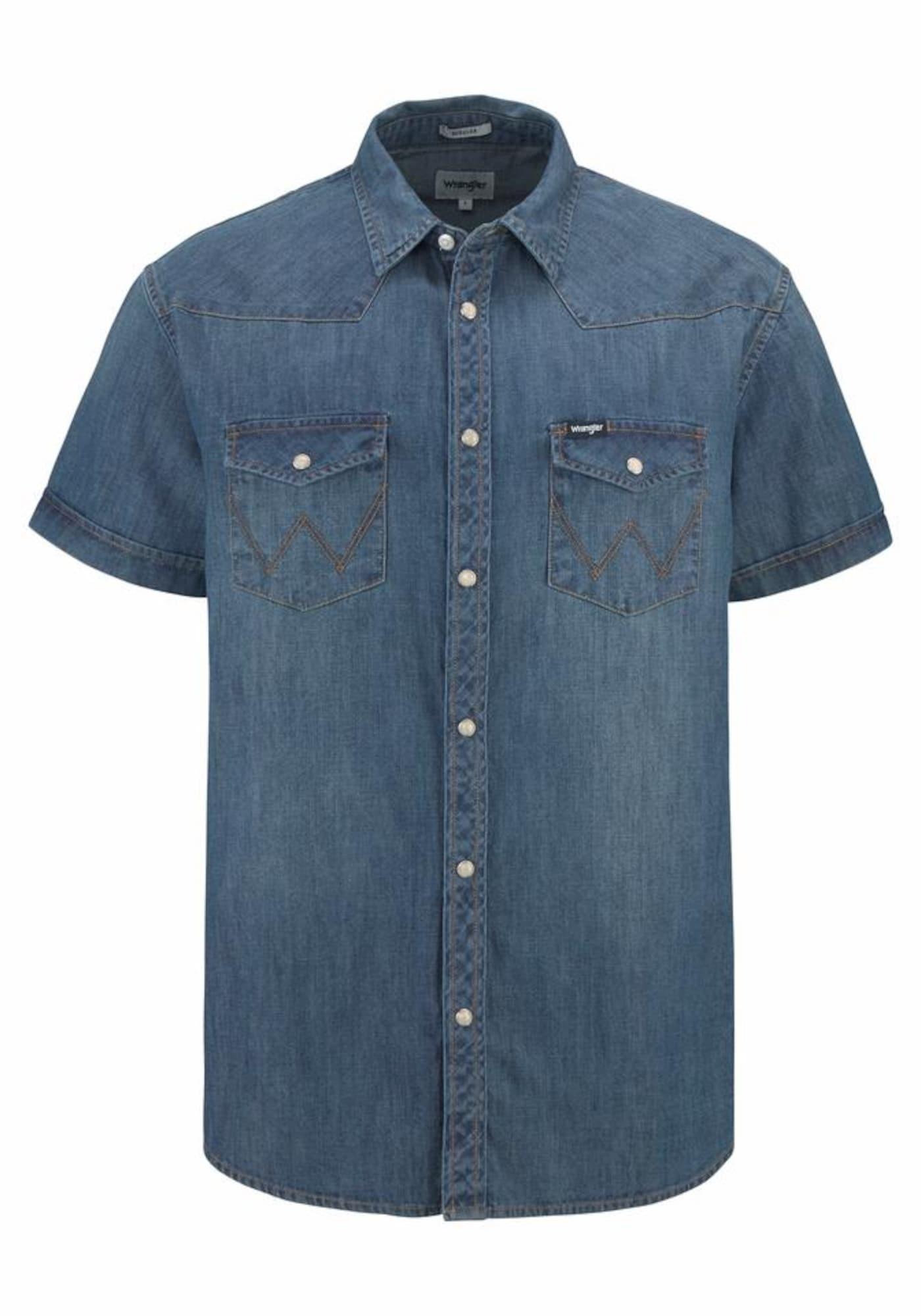 WRANGLER Heren Overhemd Western Shirt blauw