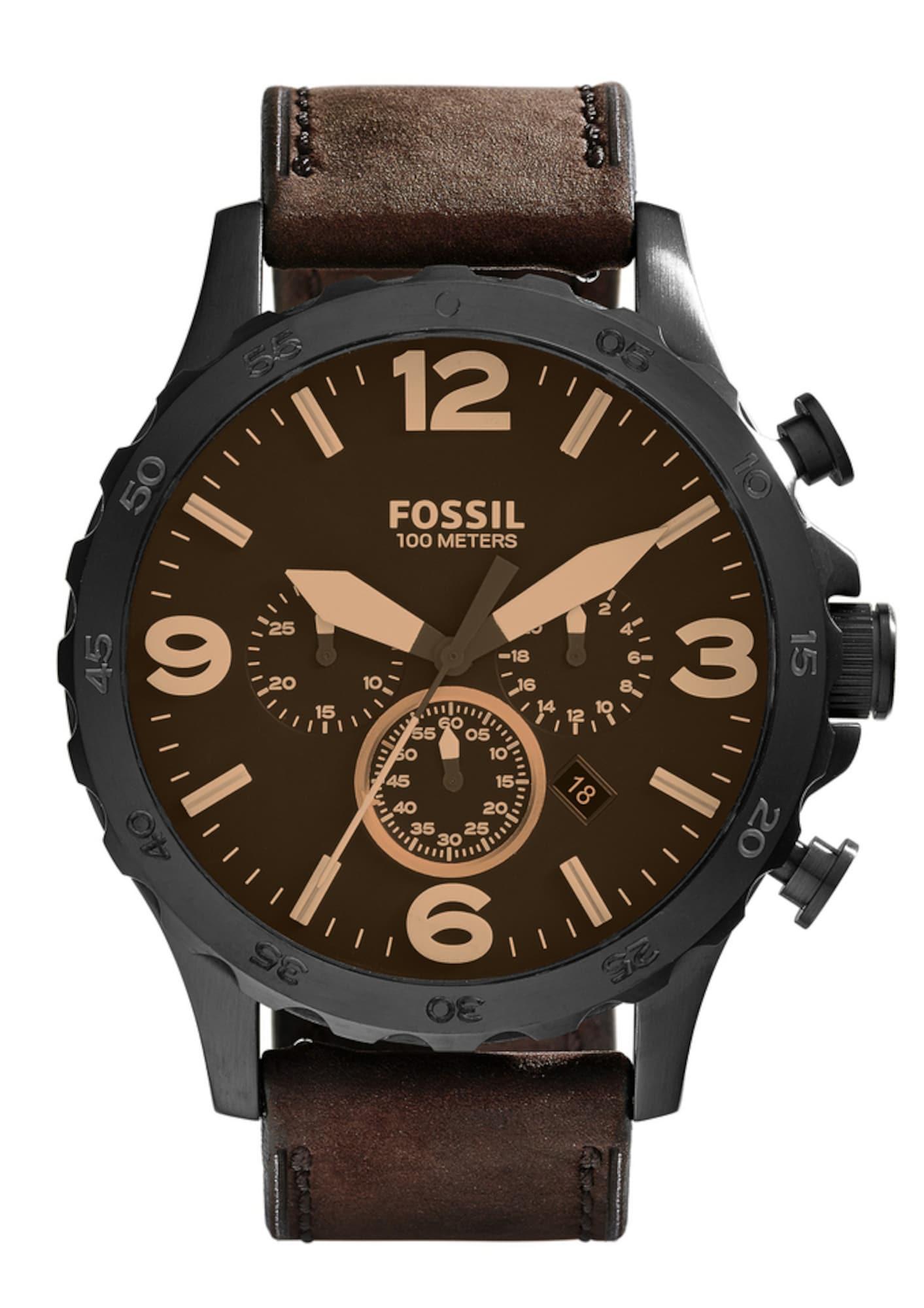 Analogové hodinky NATE tmavě hnědá FOSSIL