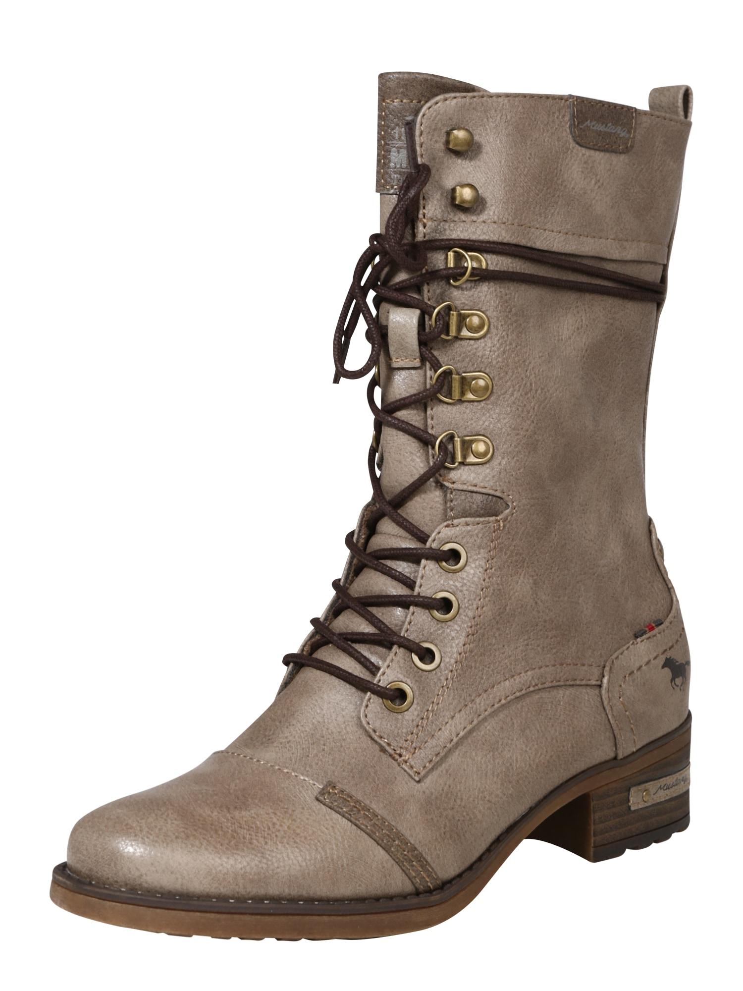 Šněrovací boty šedobéžová MUSTANG