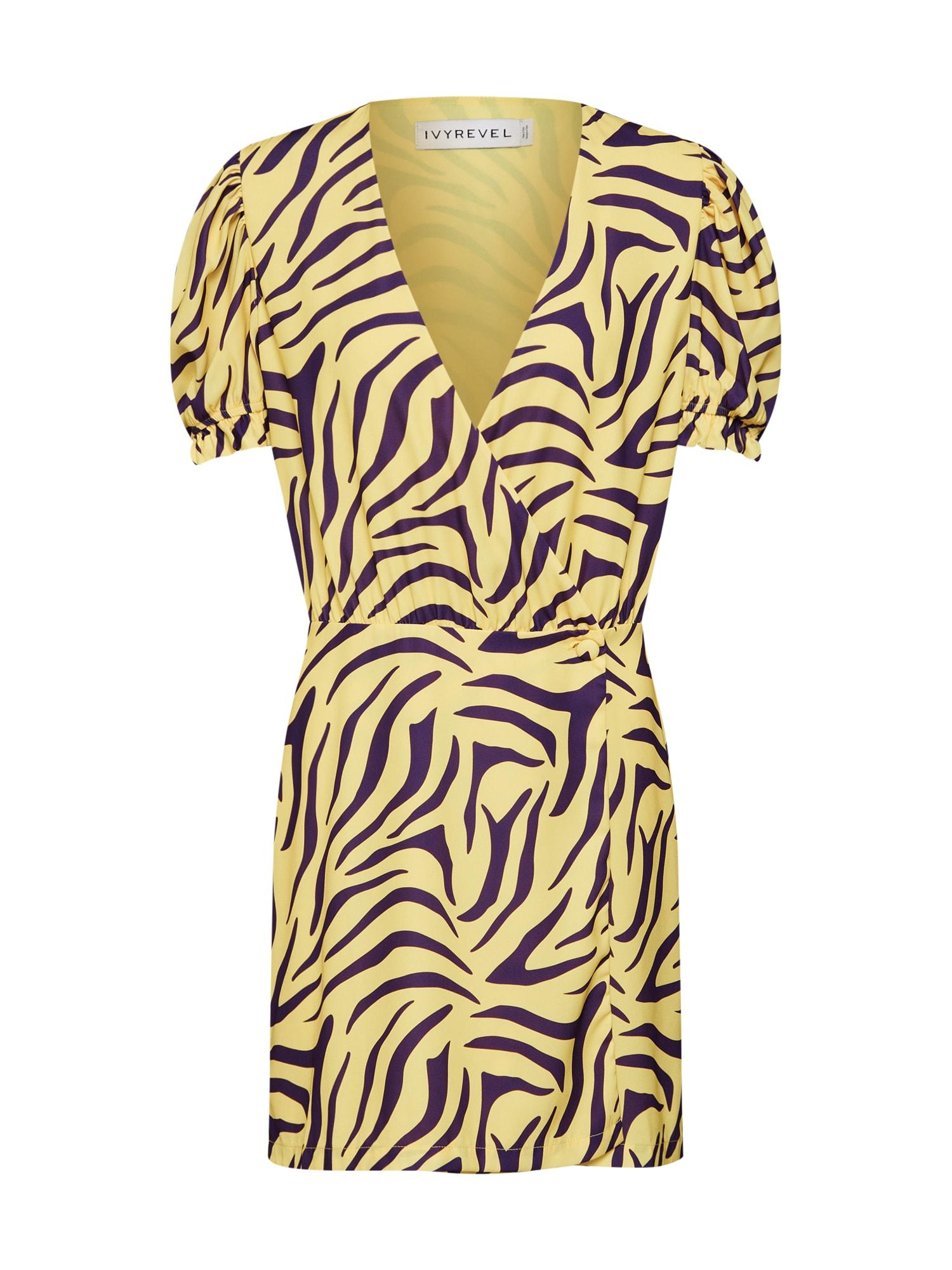 Šaty žlutá fialová IVYREVEL