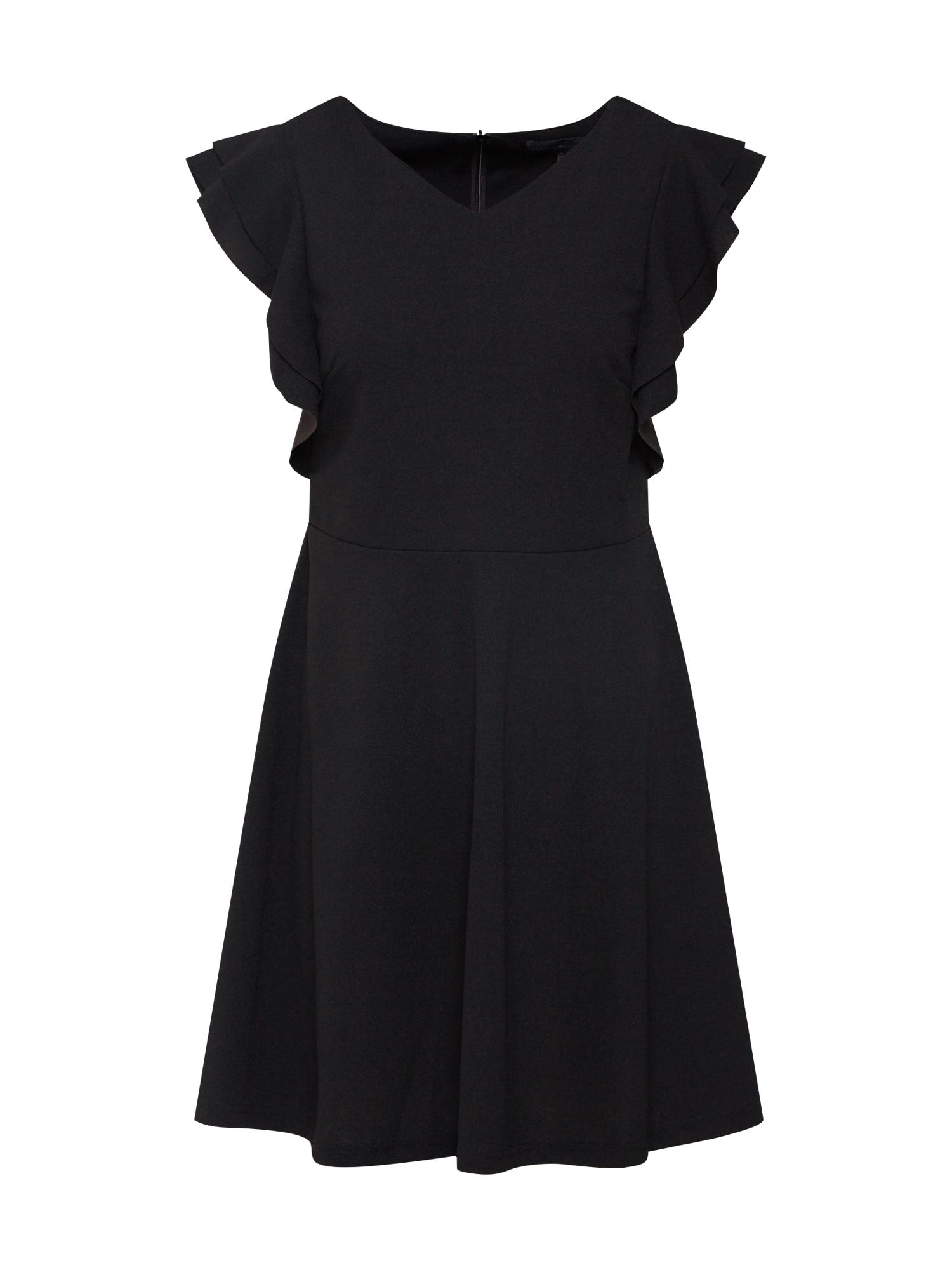 Koktejlové šaty SIDE RUFFLE V NECK DRESS černá Mela London