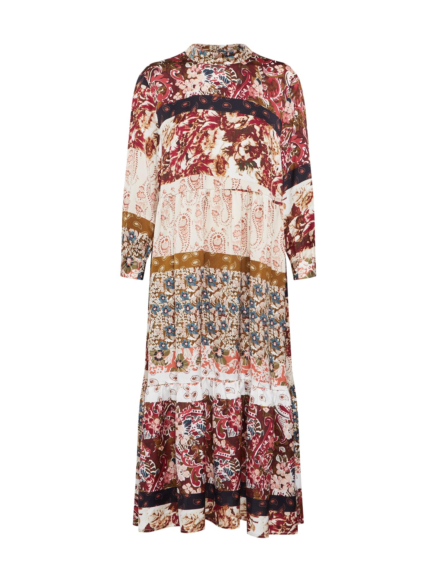 VILA Šaty 'FLOMA'  hnědá / mix barev / bílá