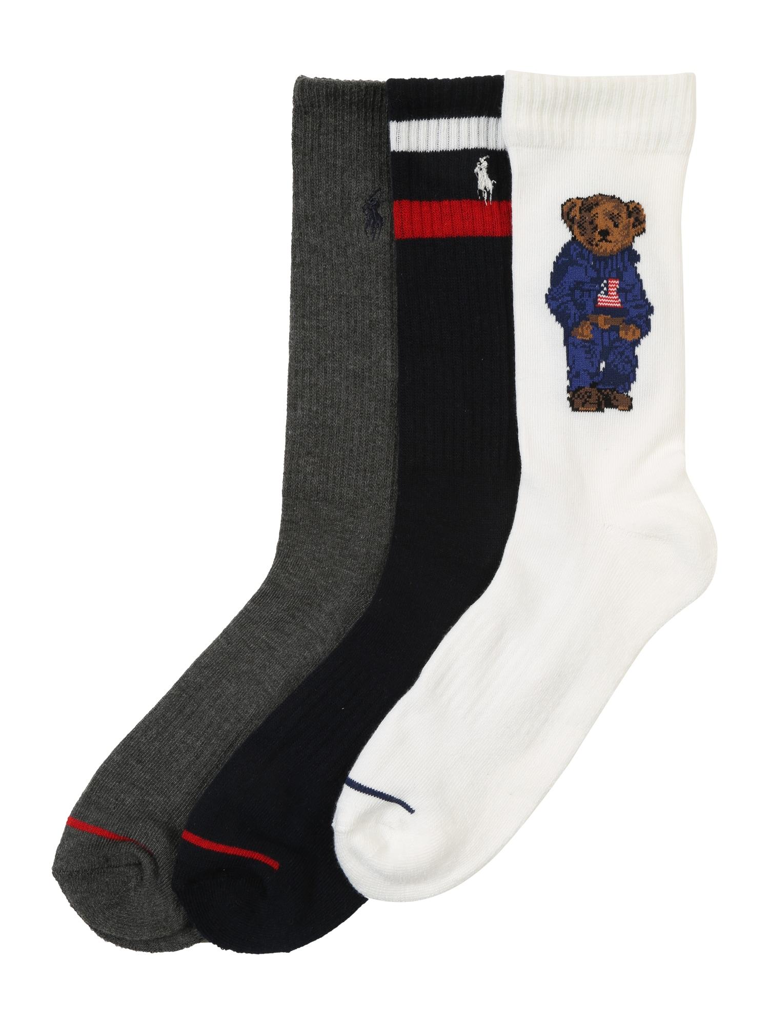 Ponožky 3PK SPRT BR-CREW-3 námořnická modř šedá bílá POLO RALPH LAUREN