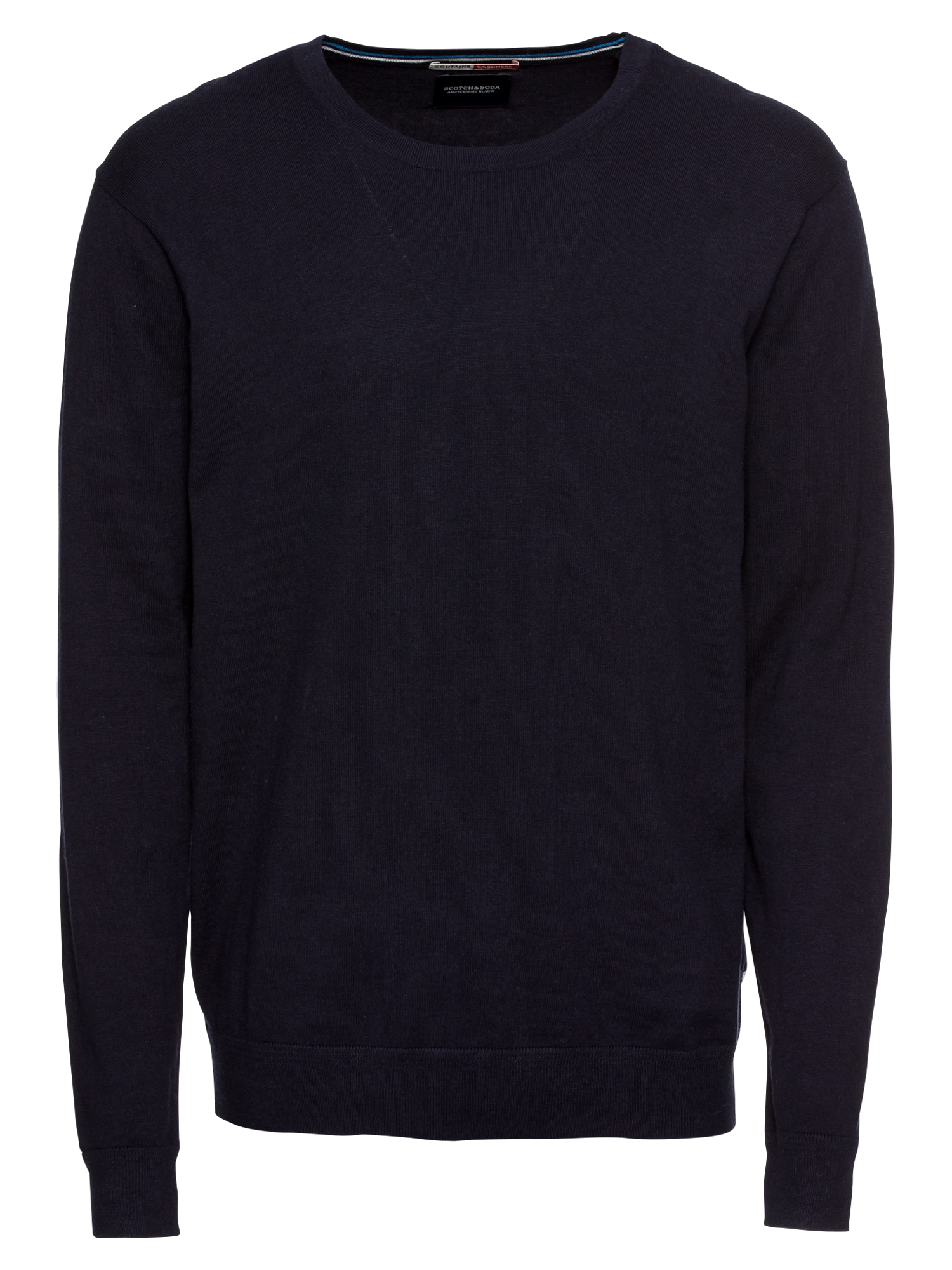 Svetr Ams Blauw cotton cashmere knit in regular fit tmavě modrá SCOTCH & SODA