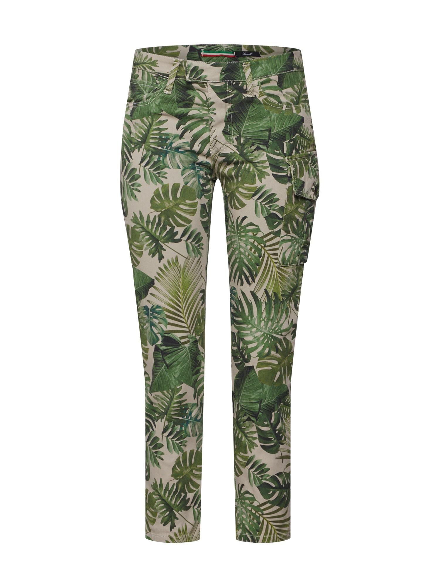 Kalhoty béžová zelená PLEASE