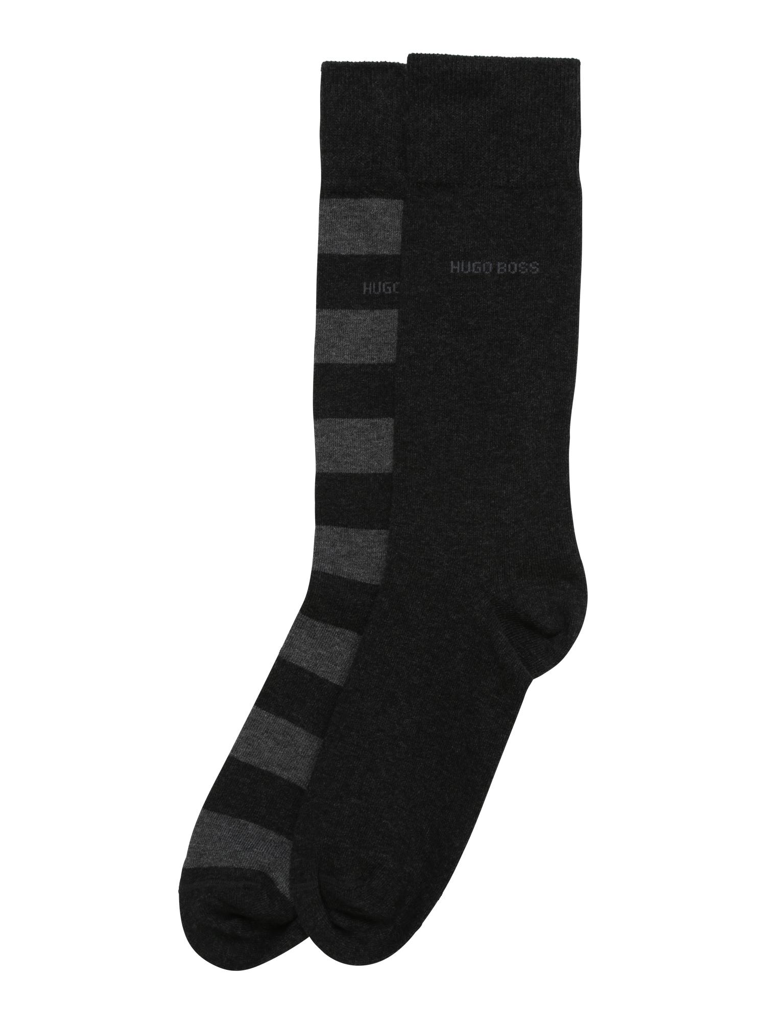 Ponožky 2P BlockStripe světle šedá černá BOSS