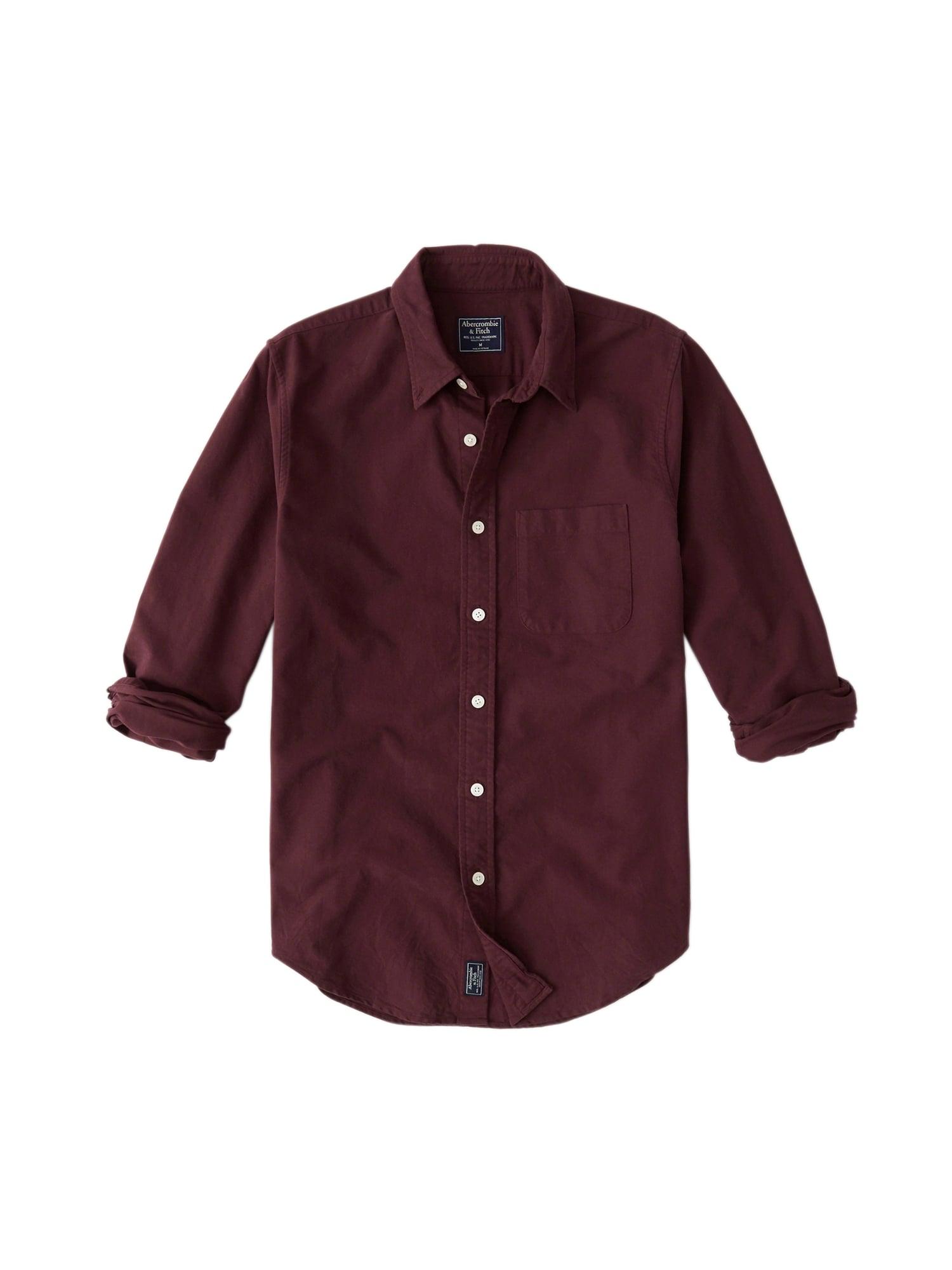 Společenská košile OXFORD SHIRT GLBL 6CC bordó Abercrombie & Fitch