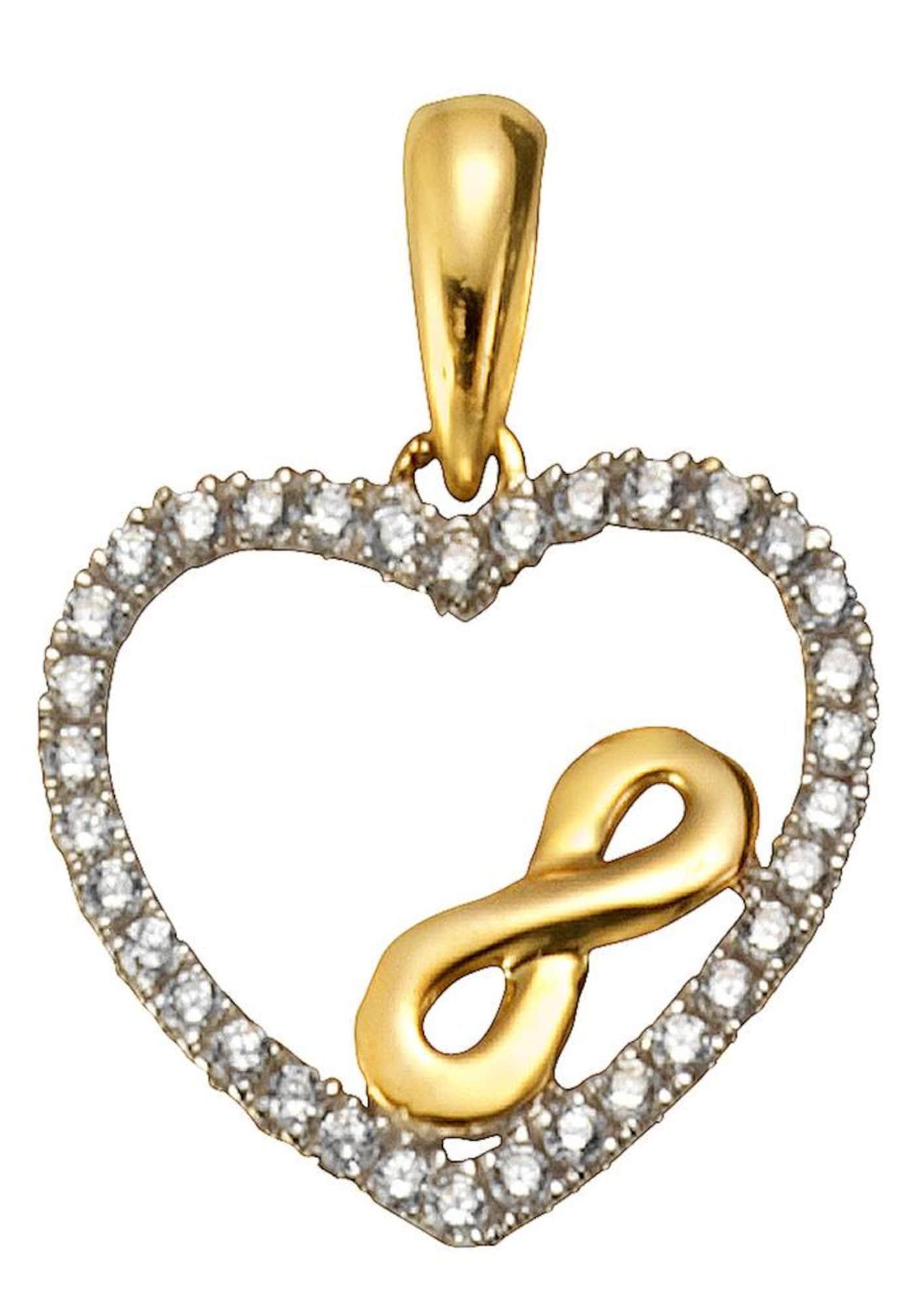 Herzanhänger 'Herz mit Infinity-Unendlichkeitsschleife' | Schmuck > Halsketten > Herzketten | Gold - Weiß | FIRETTI