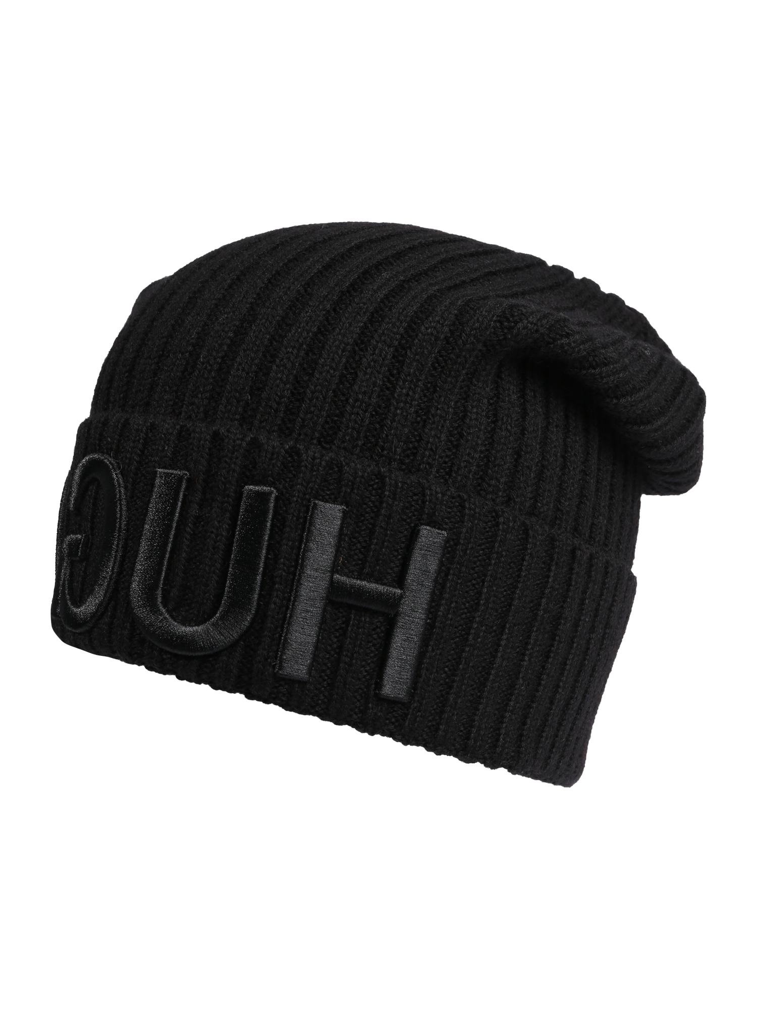 Uniseks beanie van wol met gespiegeld logo